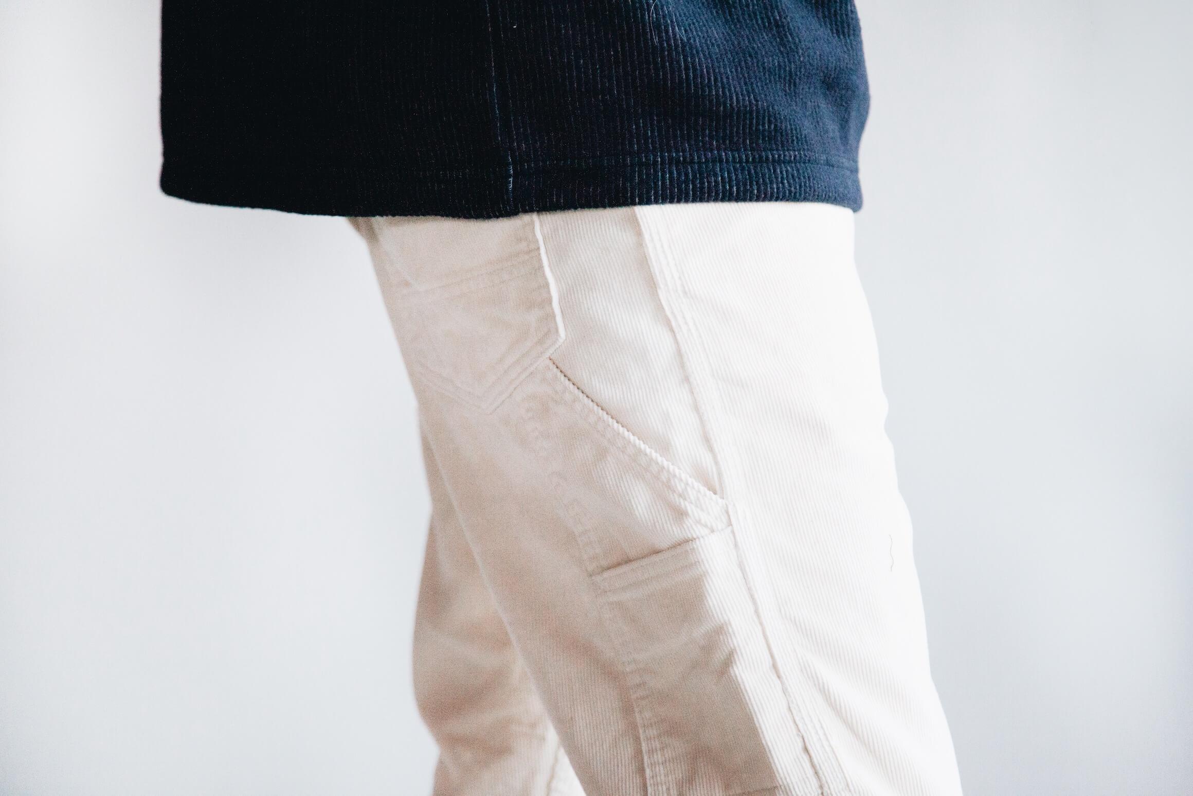 tss raglan sleeve crewneck shirt and orslow canoe club painter pants on body