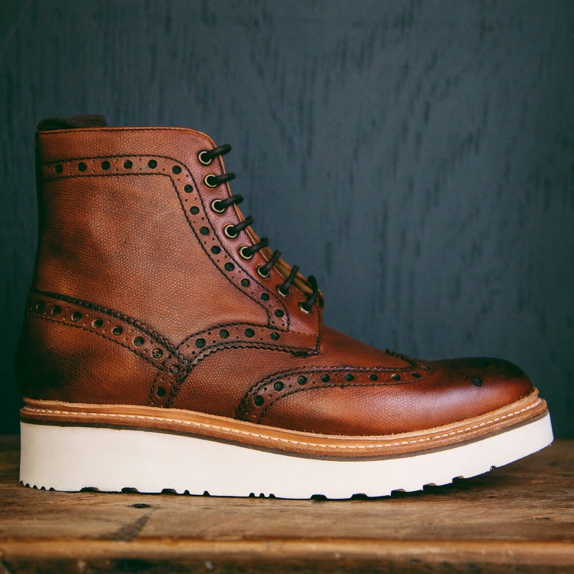 grenson brown brogued boots