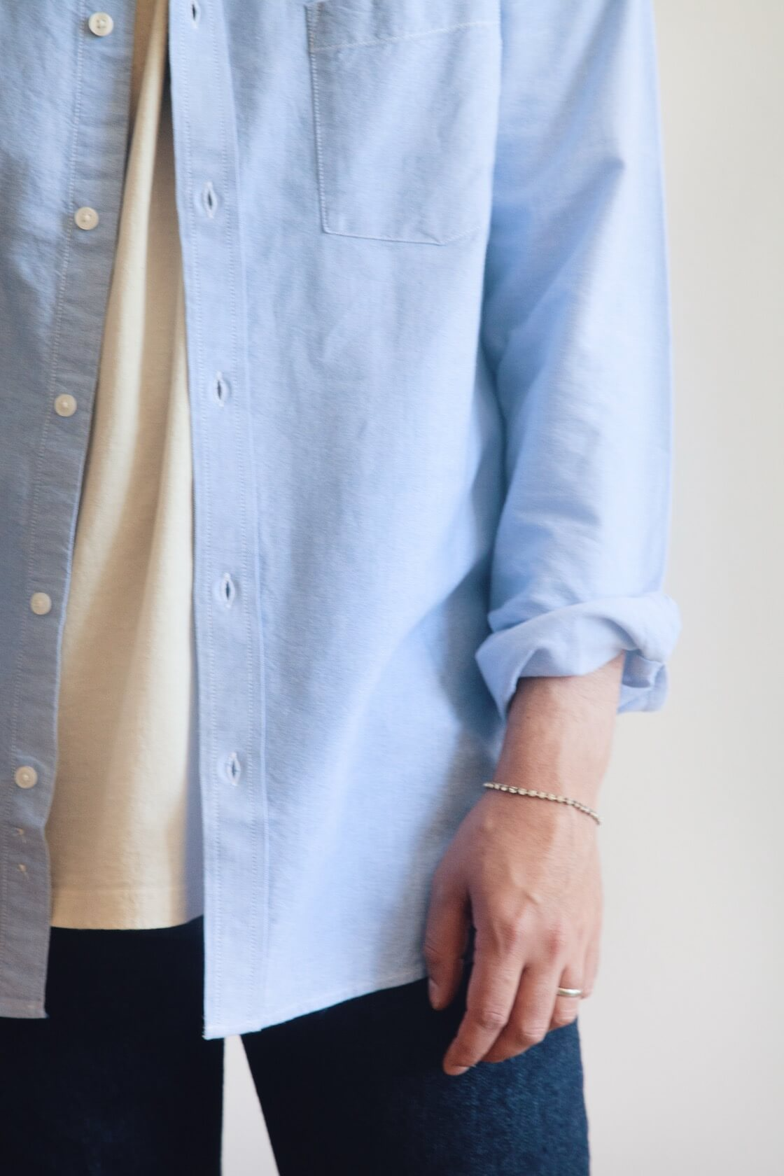 corridor and canoe club oxford shirt, orslow 105 standard denim, lady white co. our t-shirt, and hender scheme mip 18 shoes on body