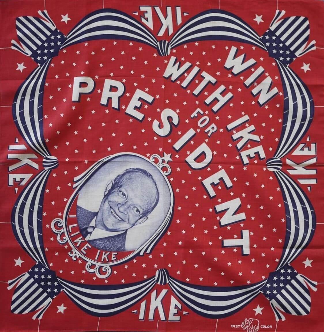 "promotional bandana ""i like ike"" for dwight d eisenhowers presidential race"