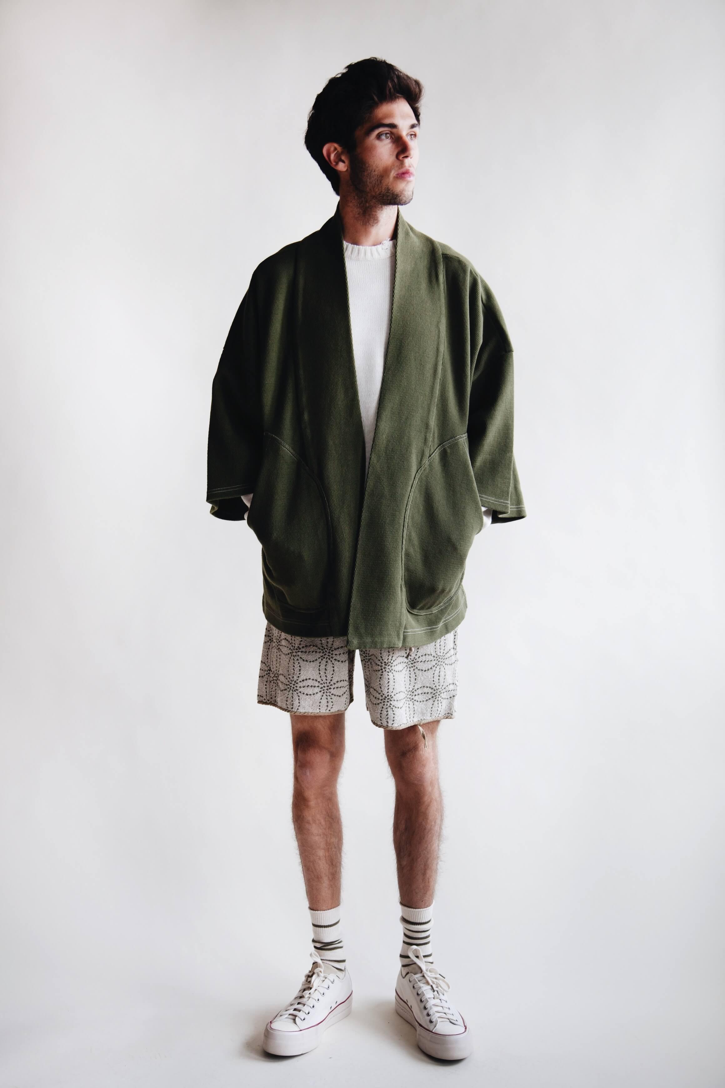 kapital clothing japan heavy waffle baja sumu cardigan, 5g cotton knit smilie patch crew sweater, irago pile sashiko shorts and visvim skagway shoes on body