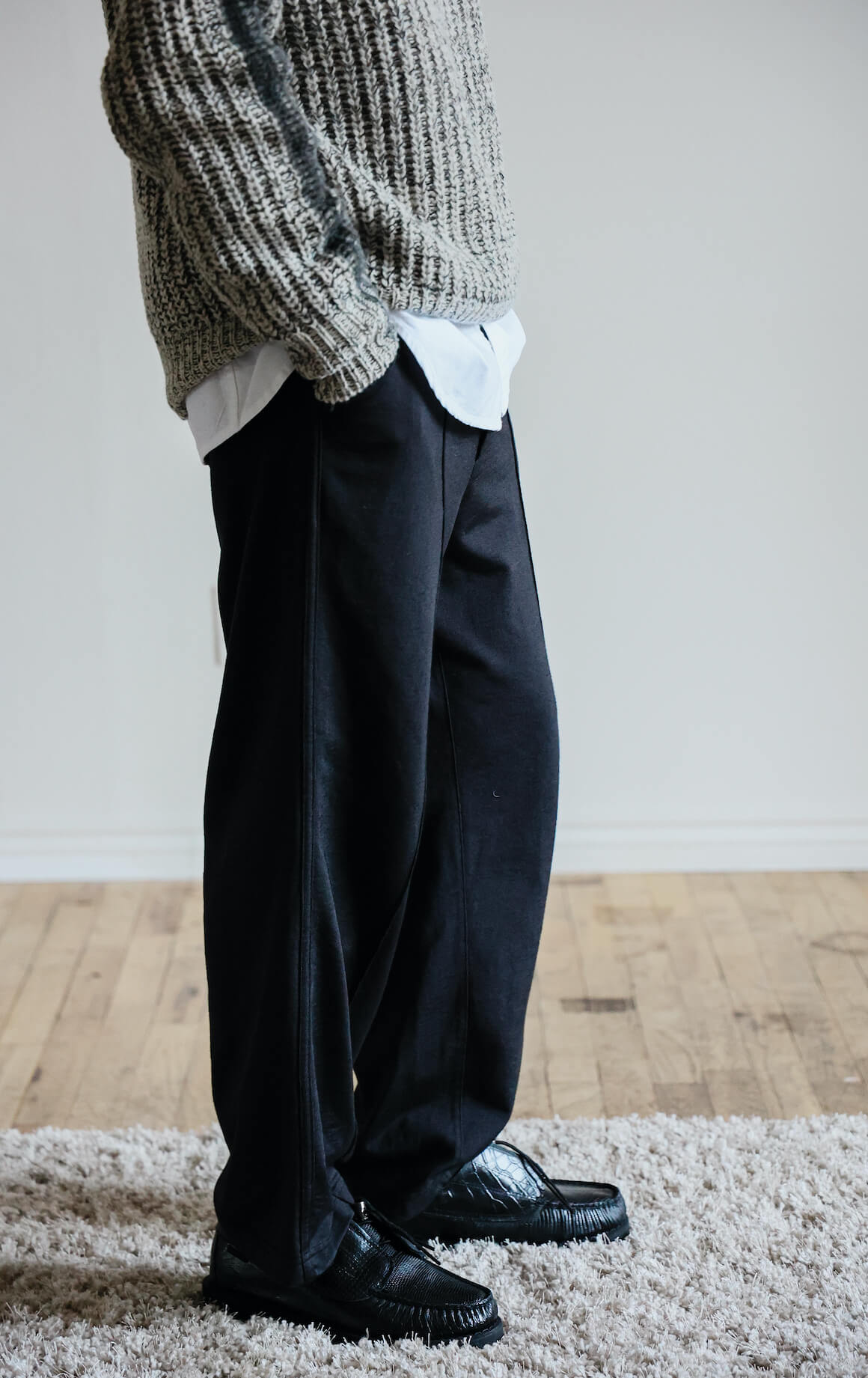 marni spray paint gradient sweater, corridor nyc and canoe club oxford shirt, lady white co. nylon band pant and engineered garments and sebago coverdeck shoes