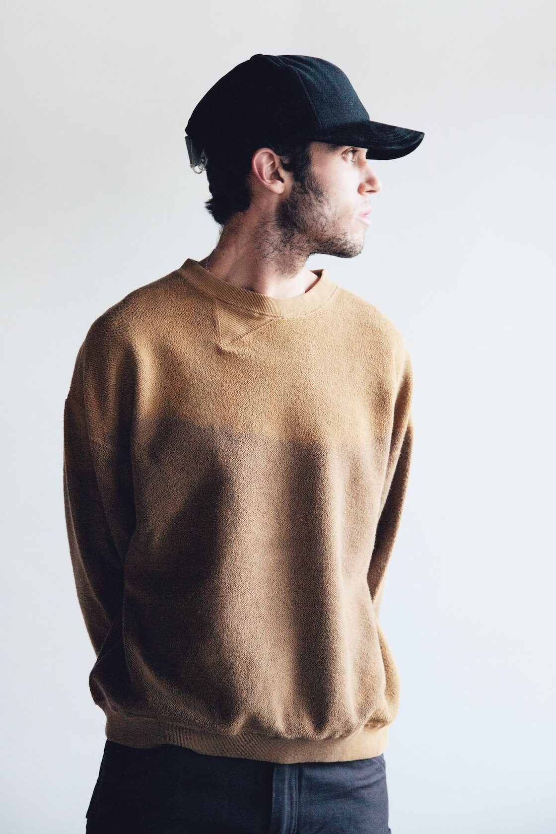 noma t.d. breach twist sweatshirt, hender scheme wool cap, orslow canoe club painter pants on body