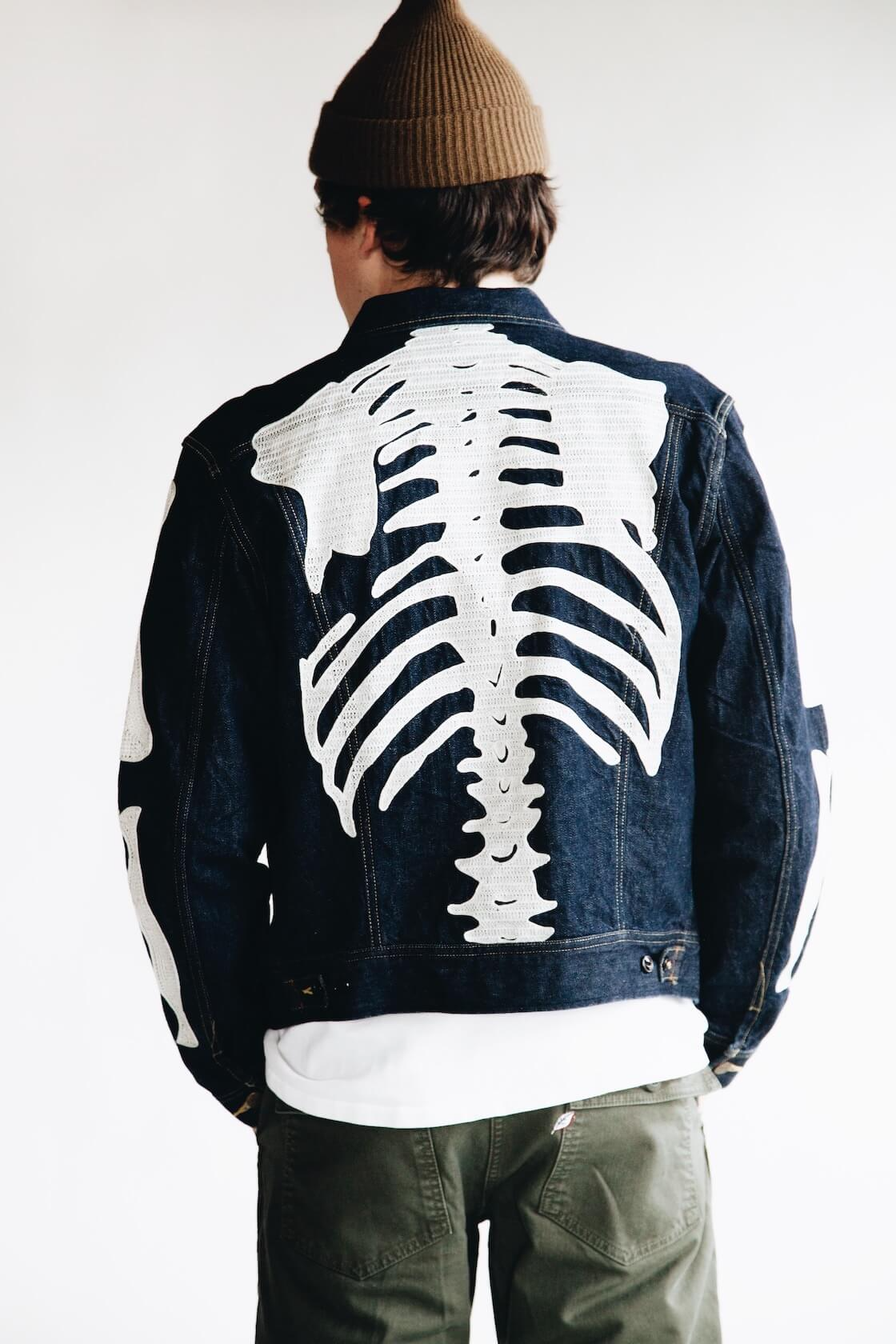 kapital bones denim jacket on body