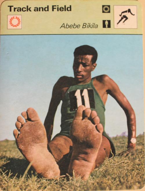 abebe bikila in 1956 without shoes