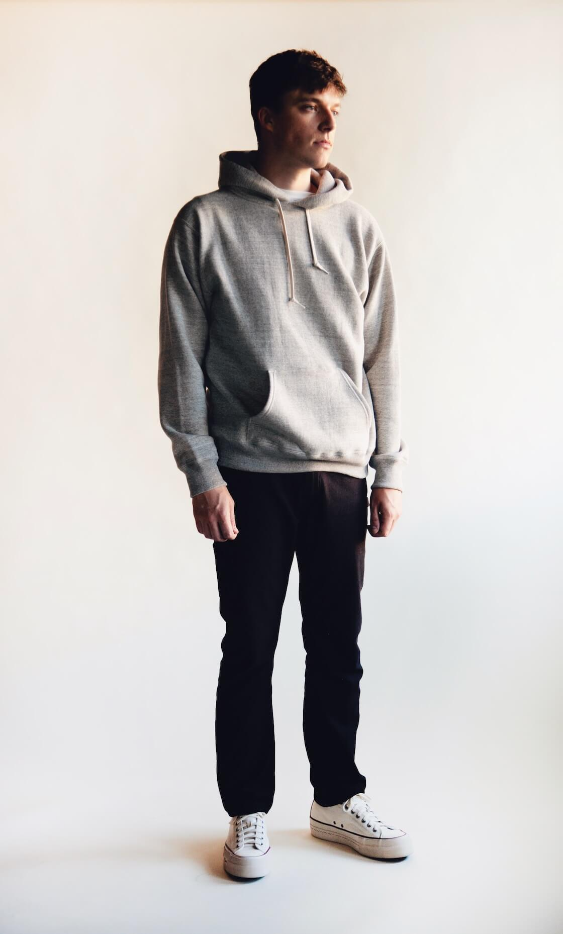 orslow hooded sweatshirt, orslow canoe club painter pants and visvim skagway lo canvas shoes on body