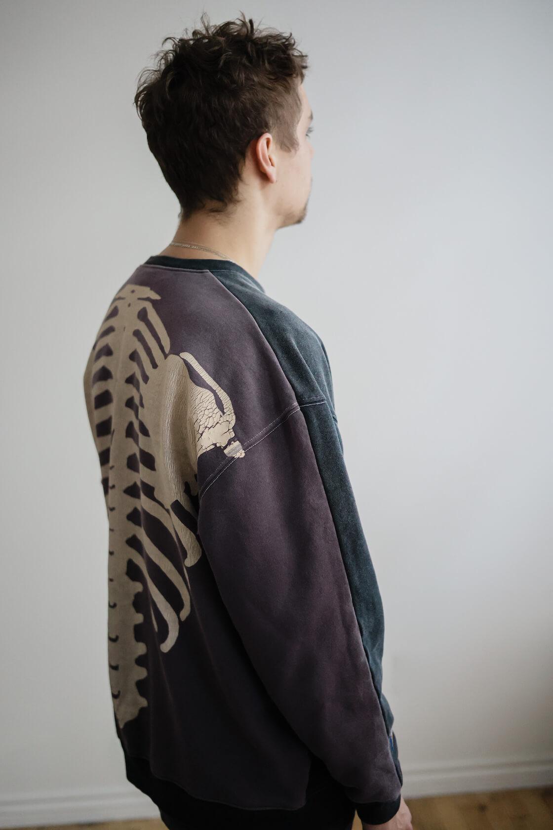 kapital fleece knit 20tones remake big sweat (bone), orslow 107 ivy denim and New balance m2002 protection pack on body