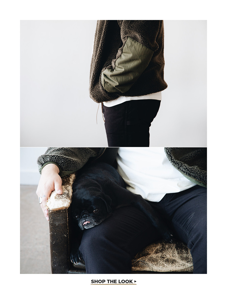 orslow fleece jacket, lady white co. t-shirt and canoe club x orslow painter pants on body