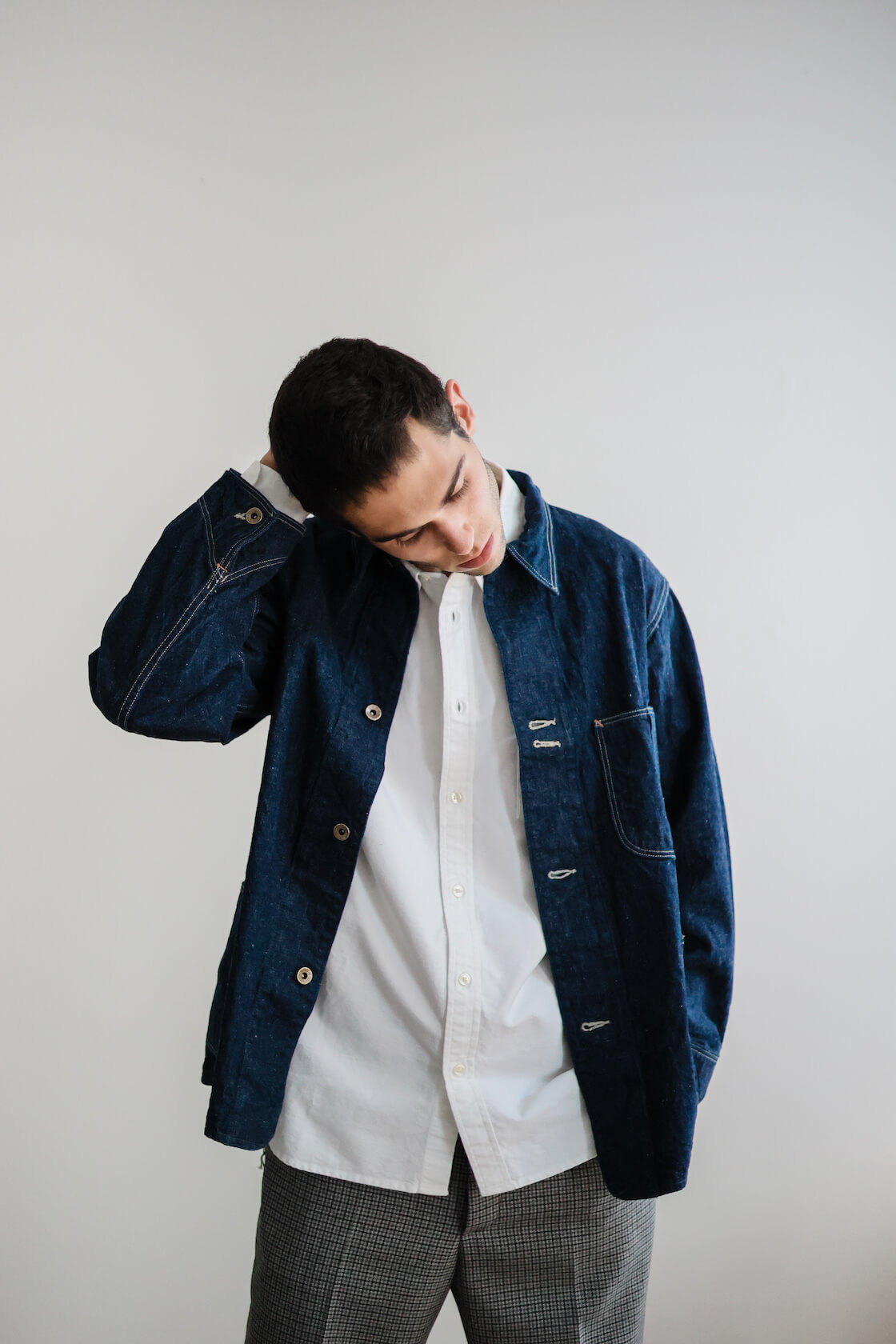 orslow 40s coverall, marni trousers, jjjjound x dr. martens archie II shoes and orslow workshirt on body