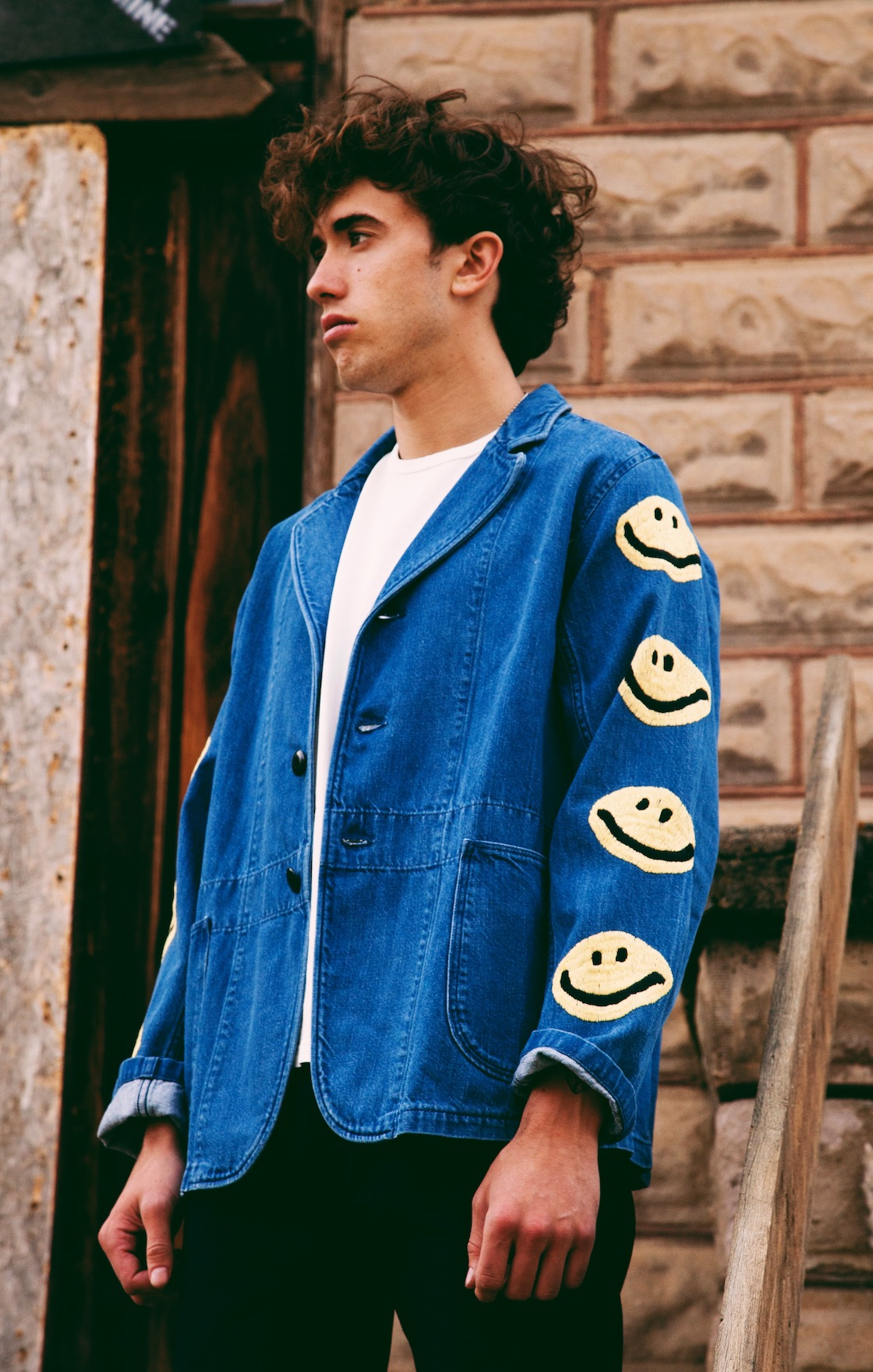 kapital kountry japan smilie shirt jacket on body