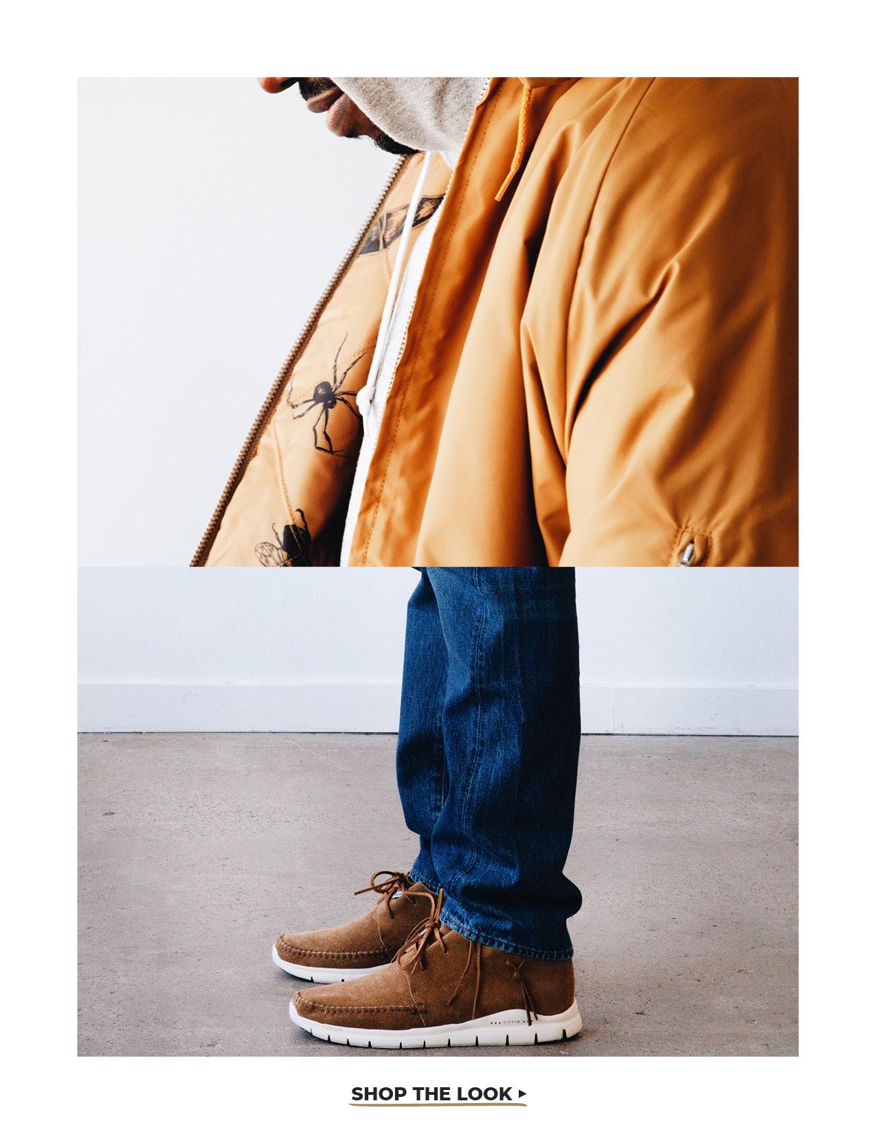 levi's vintage clothing coaches jacket, orslow hooded sweatshirt, orslow 107 ivy denim and visvim ute moc trainer on body