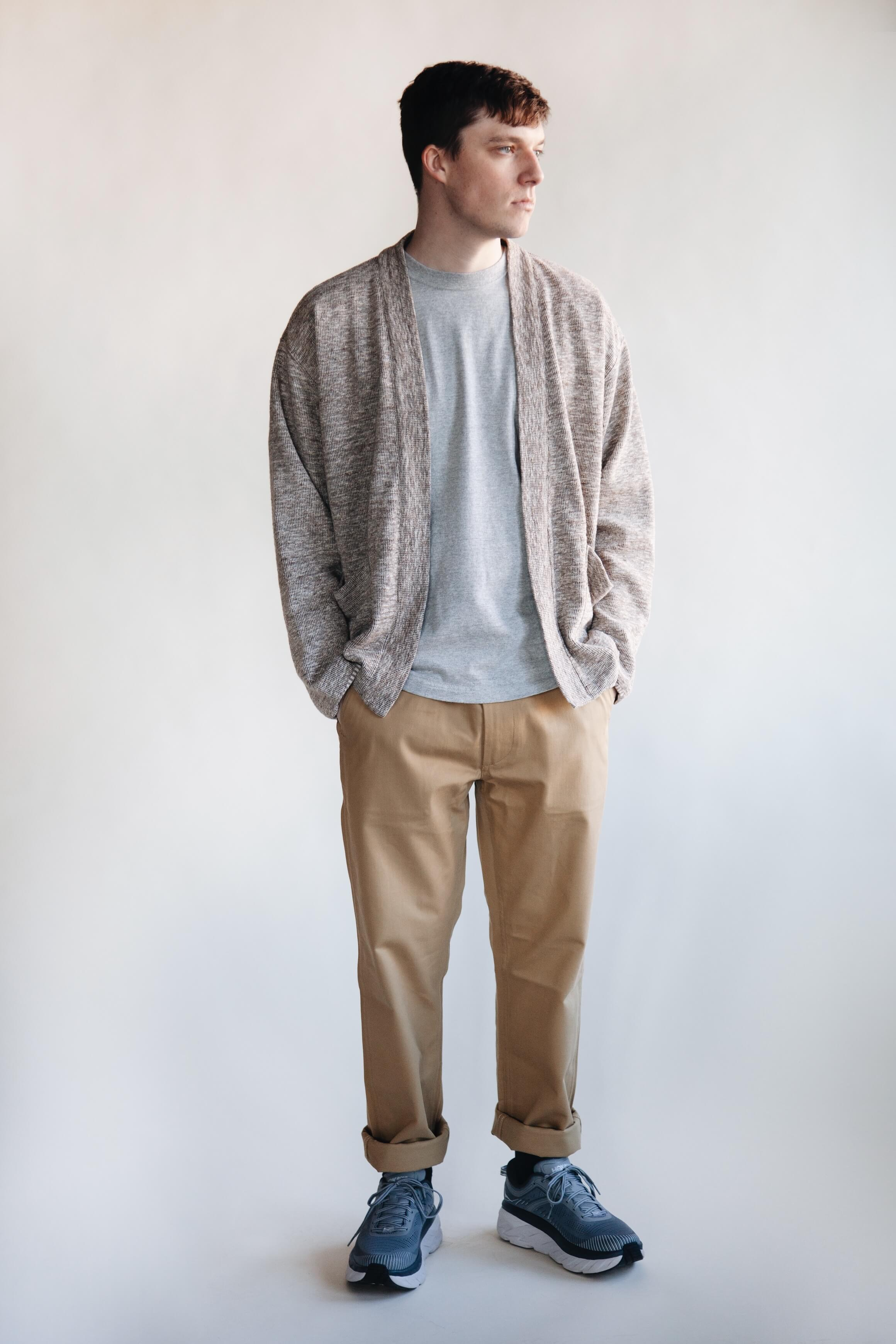 tss lined easy cardigan and crewneck t-shirt, orslow slim fit army trousers and hoka one one bondi 7 shoes on body