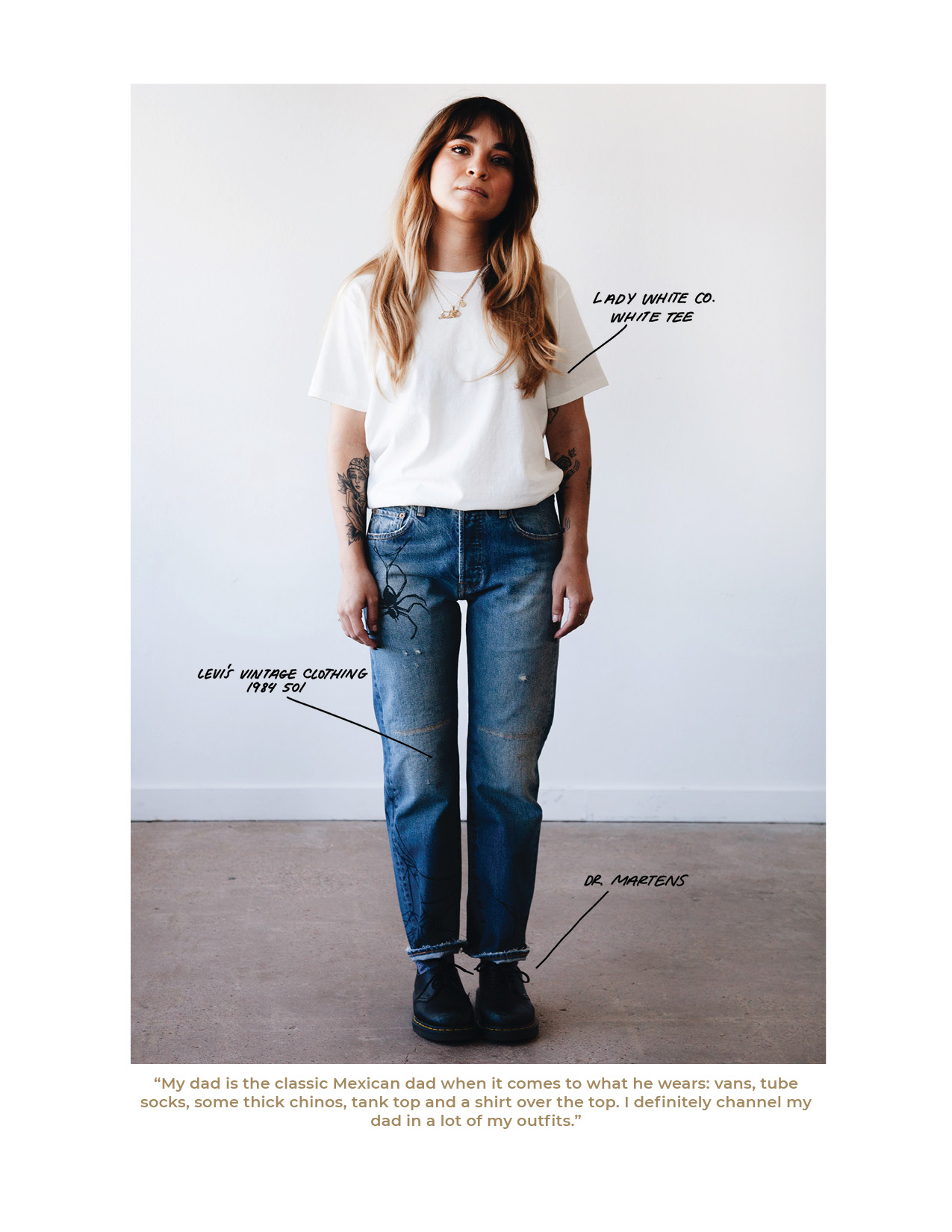 Lady white co. t-shirt, Levi's Vintage Clothing LVC 1982 501 jeans and doctor martens 1461 shoes on body