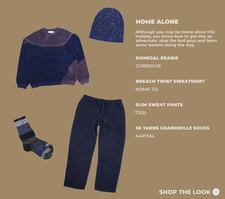 look four featuring corridor donegal beanie, noma t.d. breach twist sweatshirt, tss slim sweat pants and kapital socks