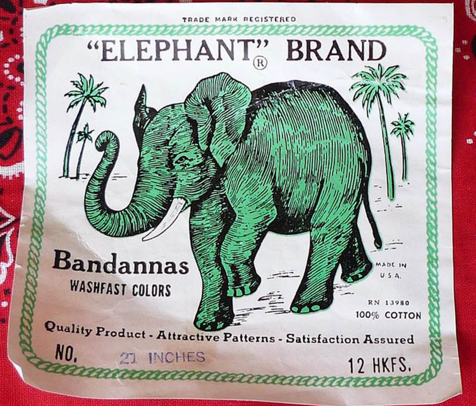 elephant brand bandannas tag