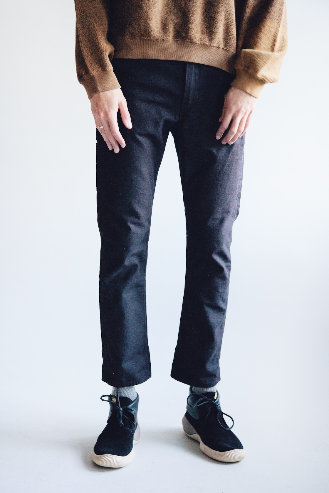 Noma t.d. breach twist sweatshirt, orslow canoe club painter pants and ute moc trainer shoes from visvim on body