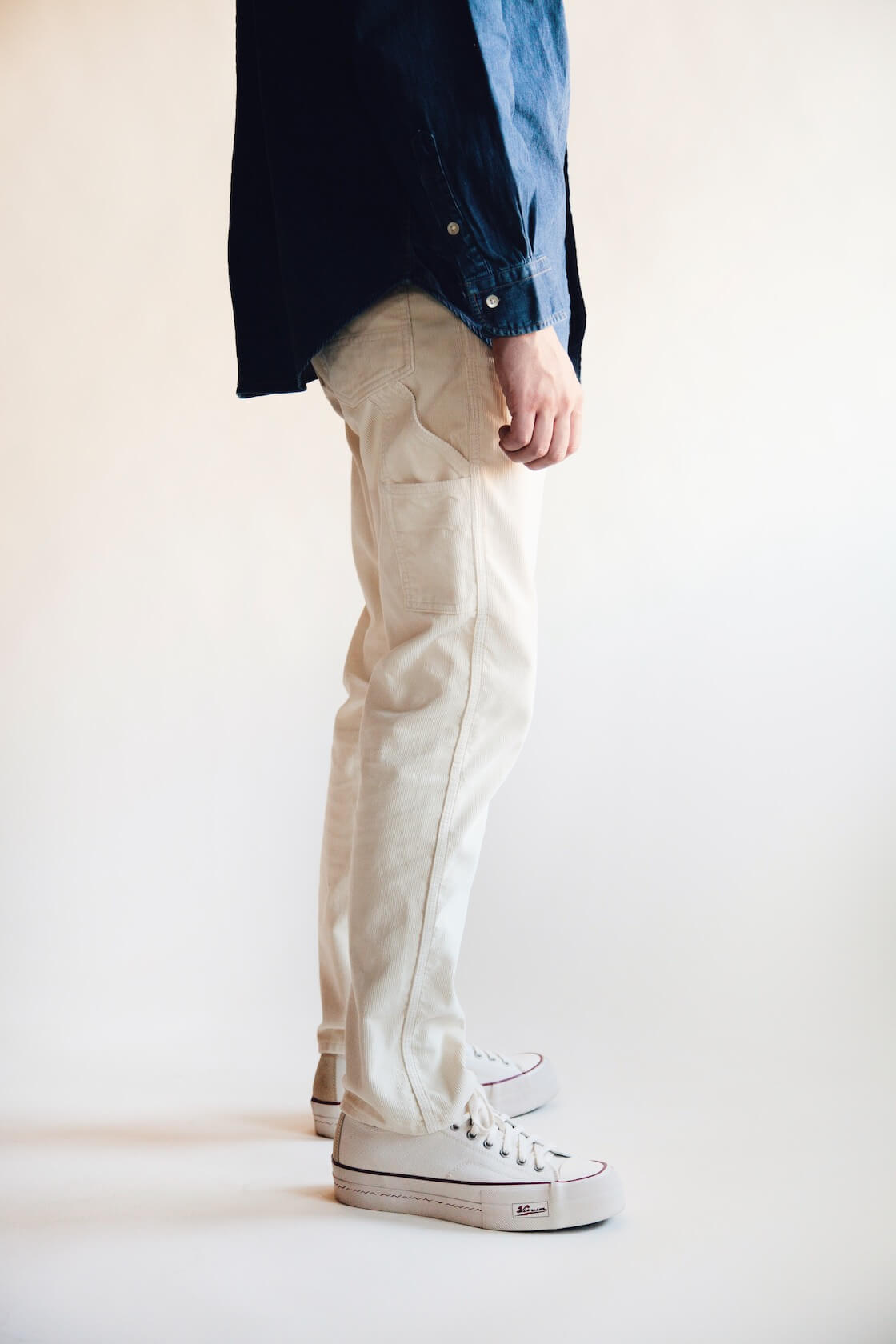 orslow painter pants, orslow button down shirt and visvim skagway lo canvas shoes on body
