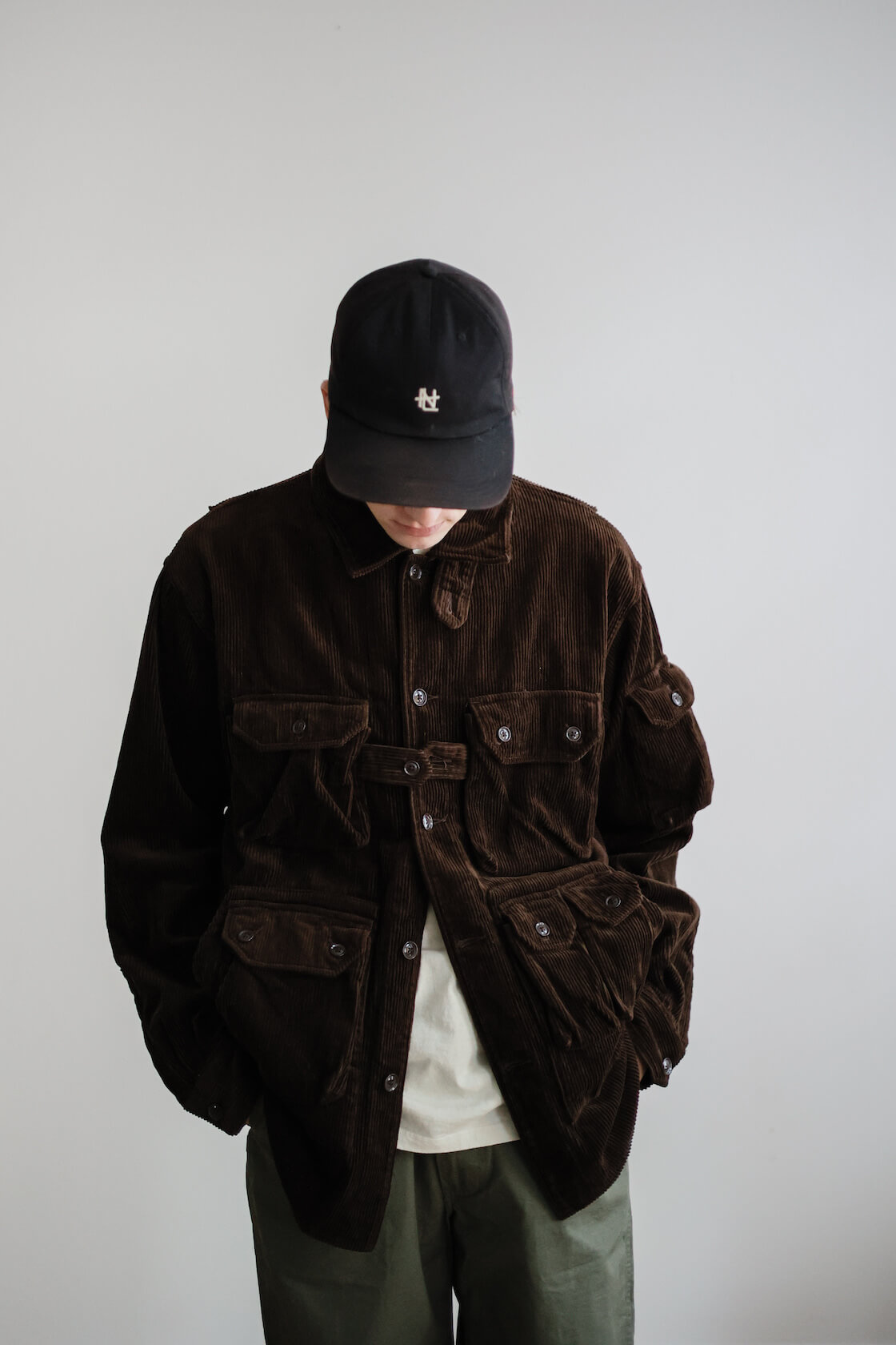 engineered garments explorer shirt jacket, lady white co. our t-shirt, orslow new yorker pant and hender scheme slouchy shoes on body