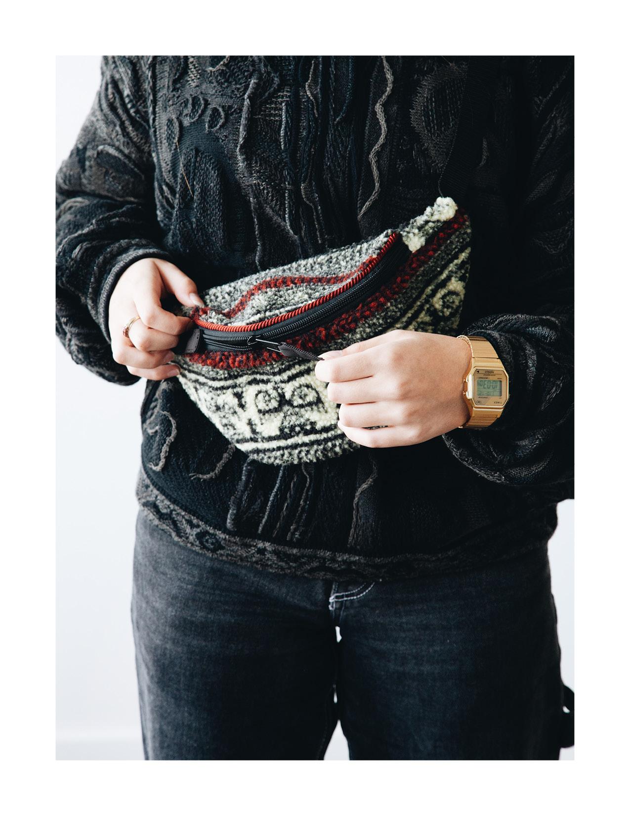 kapital birds-eye fanny pack, timex t80 watch and kapital boro crew sweater on body