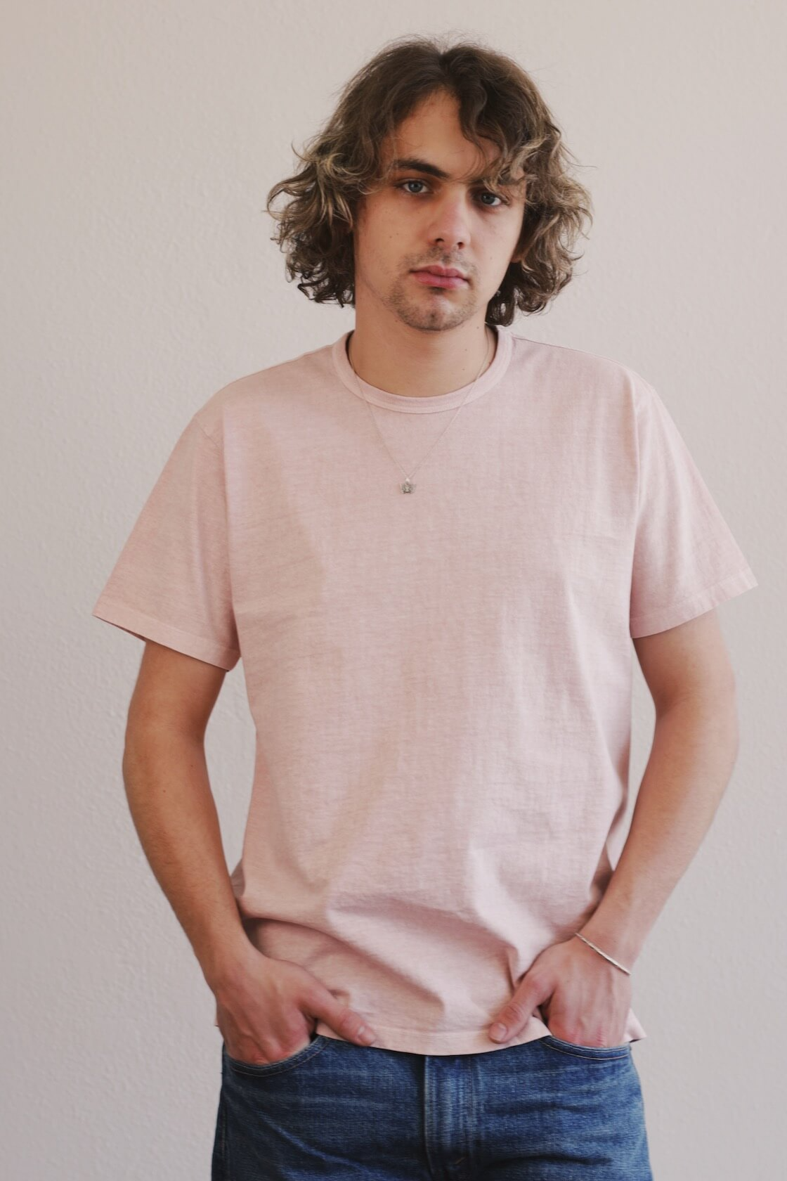 canoe club x lady white co. collaboration eraser pink t-shirt on body