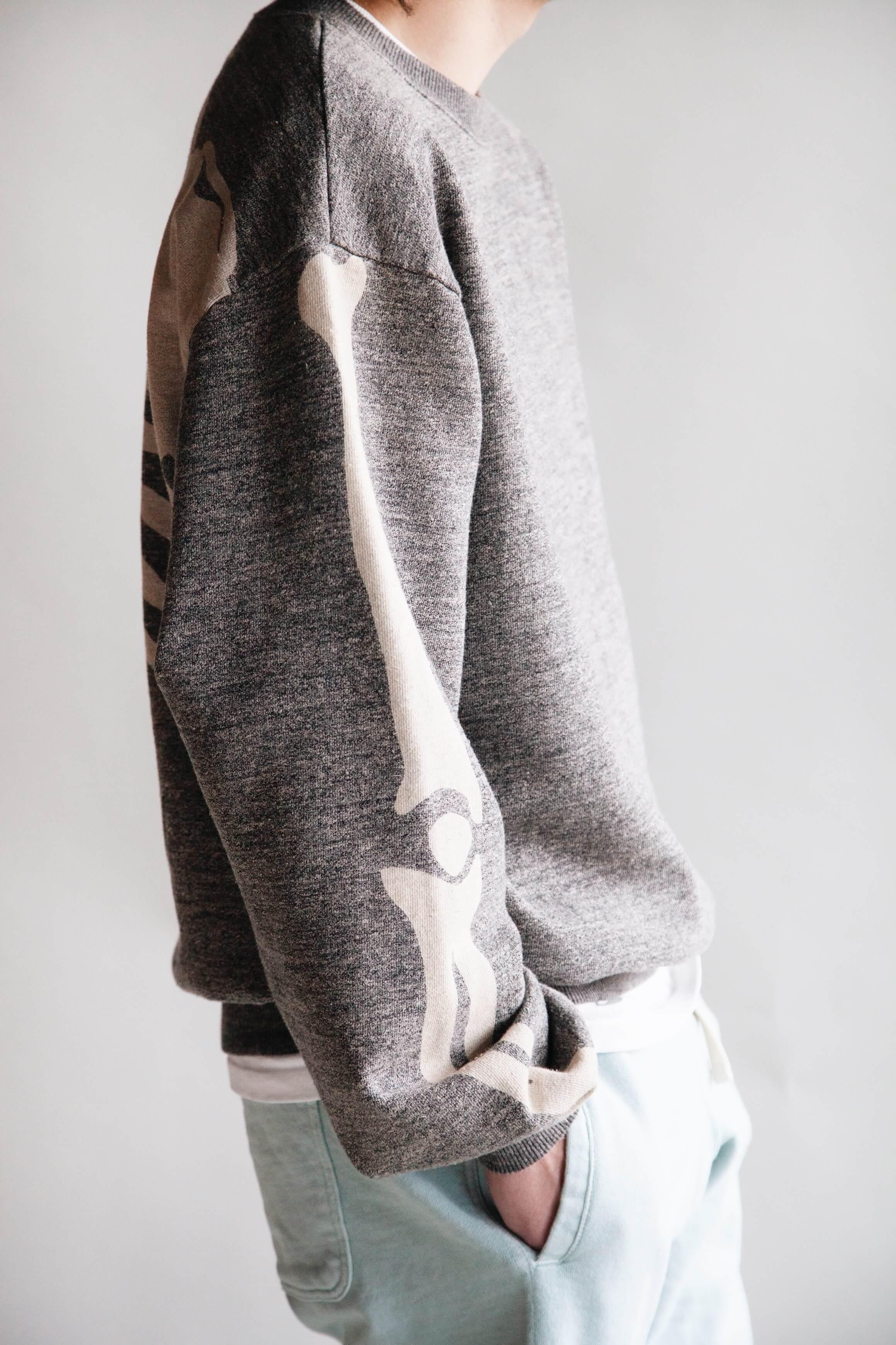 Kapital clothing japan grandrelle fleece knit big crew bone sweatshirt, beams plus athletic shorts, anonymous ism uneven dye socks and hender scheme mip-14 boots on body
