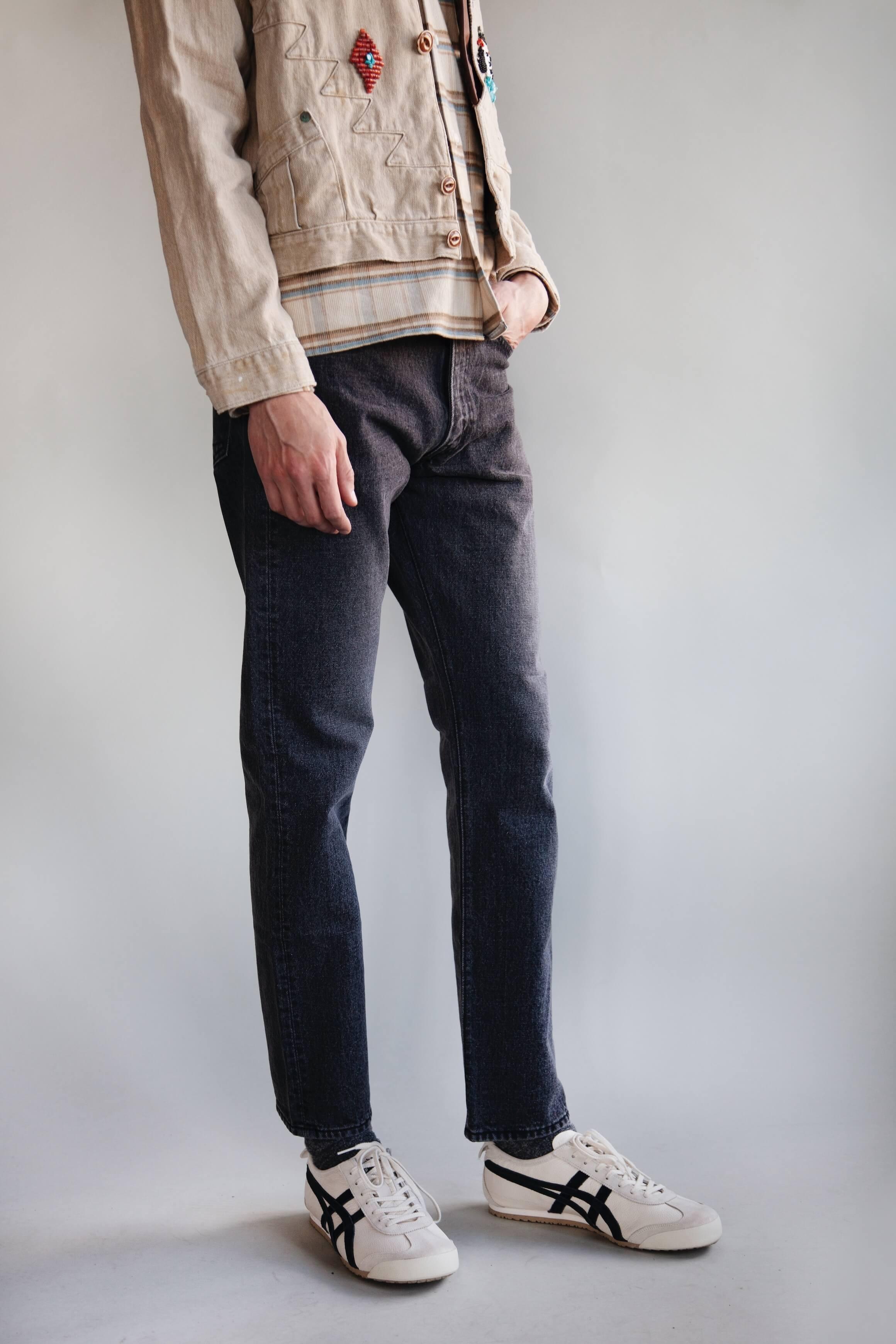 kapital kountry thunderbird jacket, gitman bros. vintage camp collar shirt, orslow 107 ivy denim and onitsuka tiger mexico 66 shoes on body