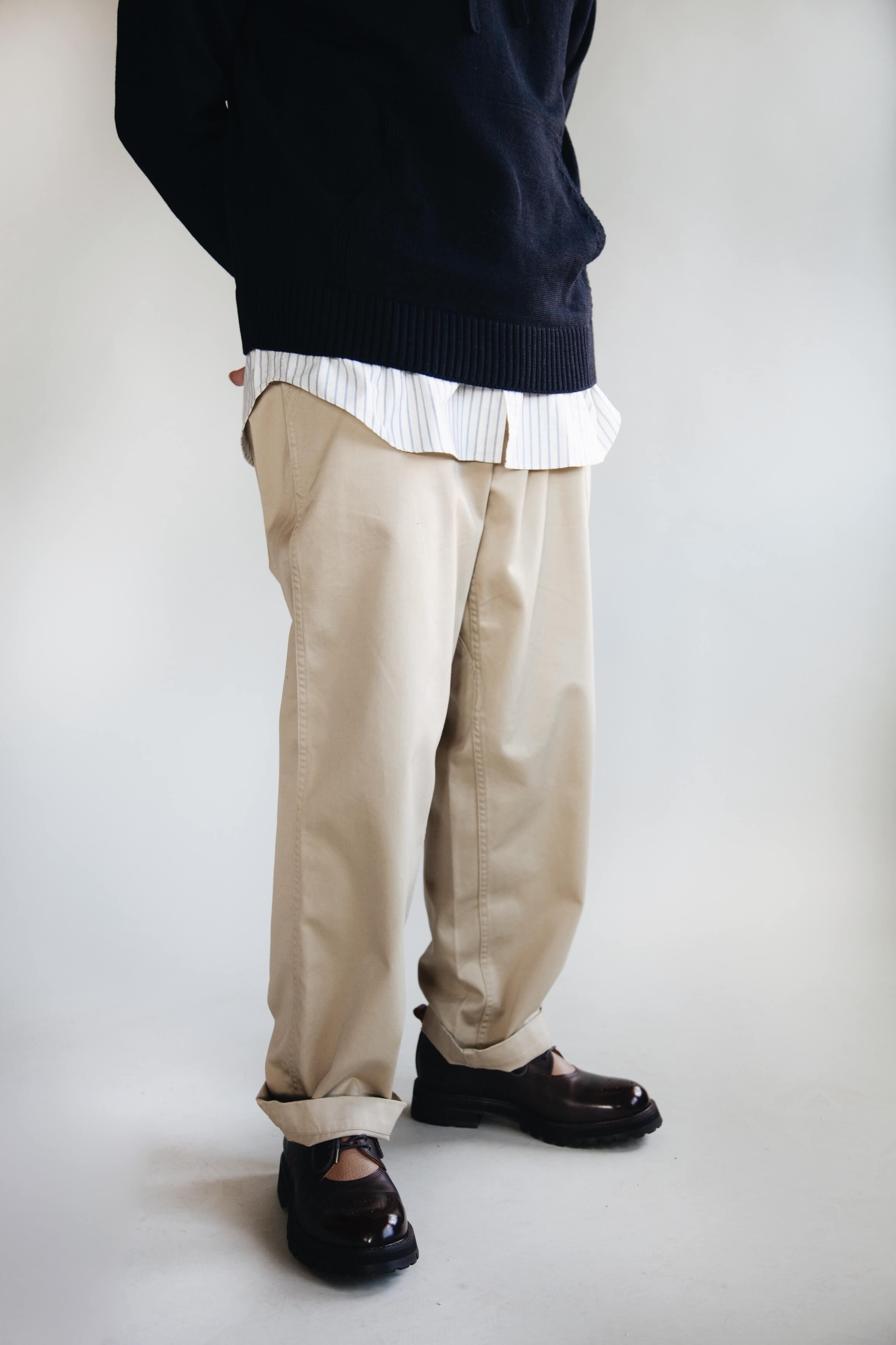 arpenteur primo sweater, arpenteur doris shirt, nanamica wide chino pants and hender scheme commando bluchers on body
