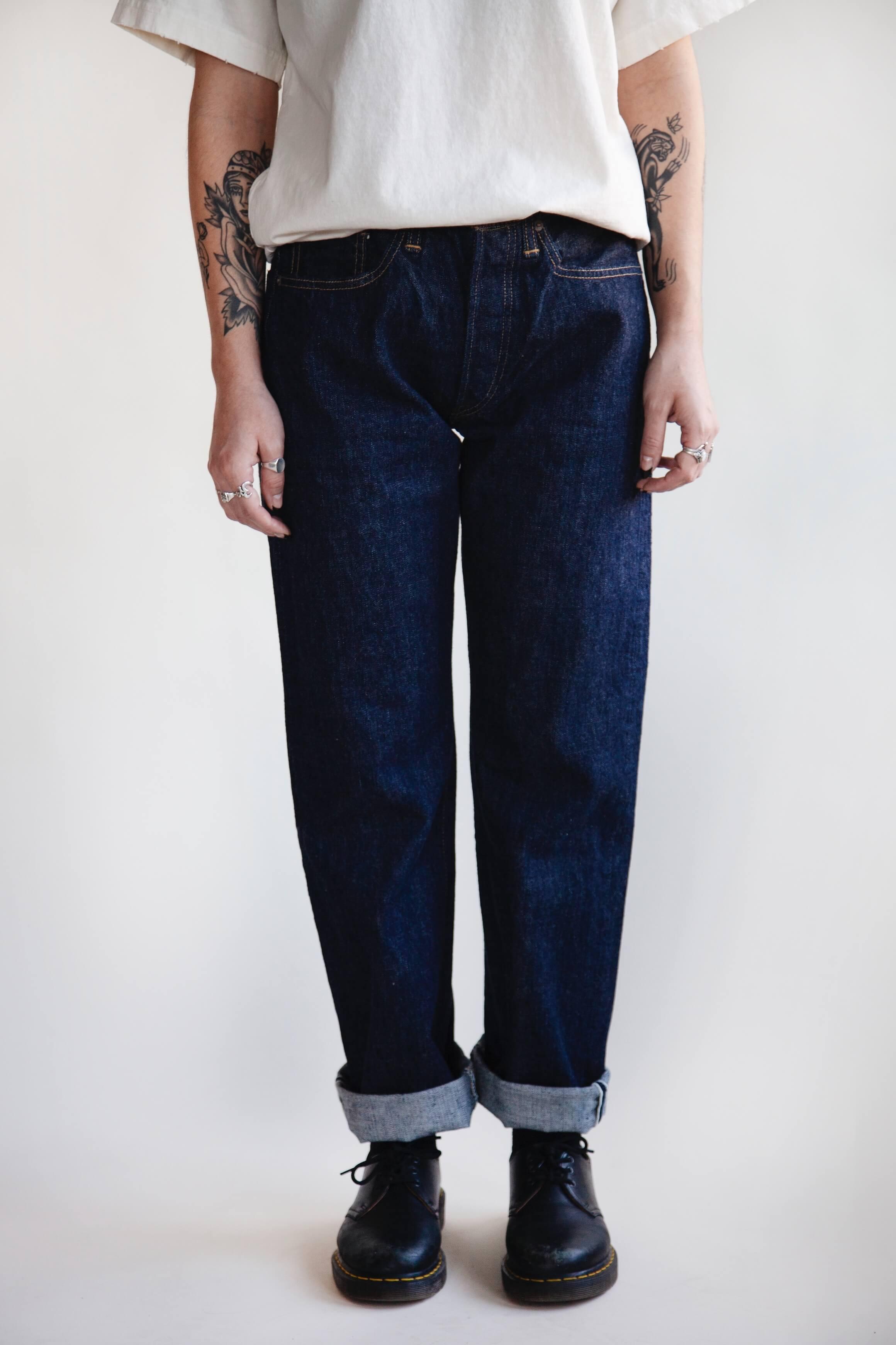 orslow 105 Standard Denim - One Wash on female model
