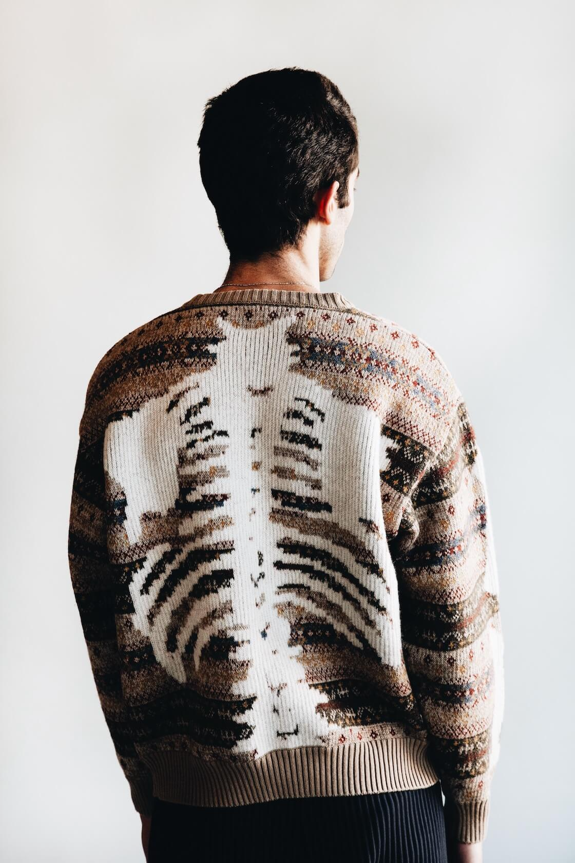 kapital fair isle bones sweater on body