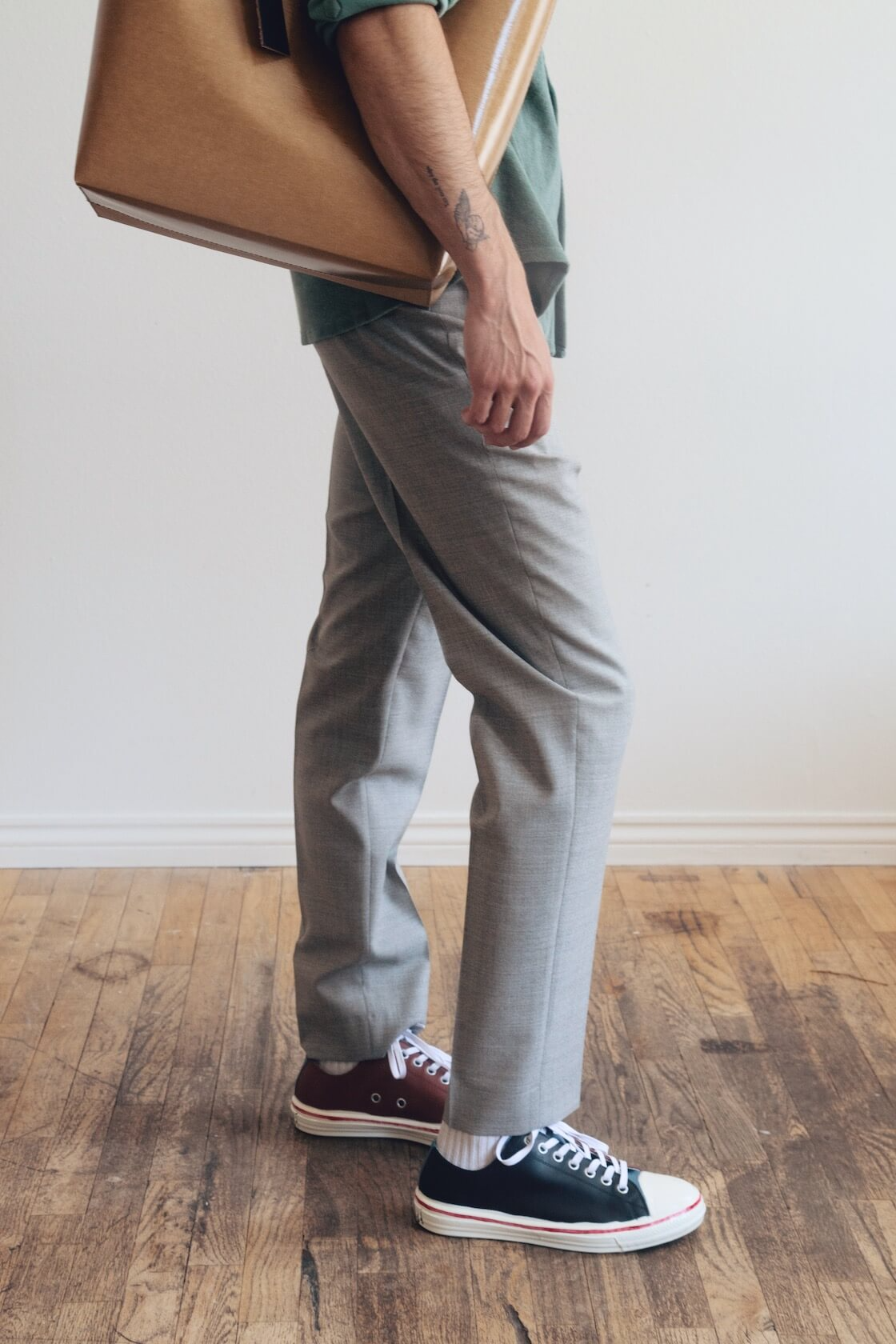 harmony paris caleb shirt and peter trousers, marni tribeca shopping bag and low top gooye shoes on body