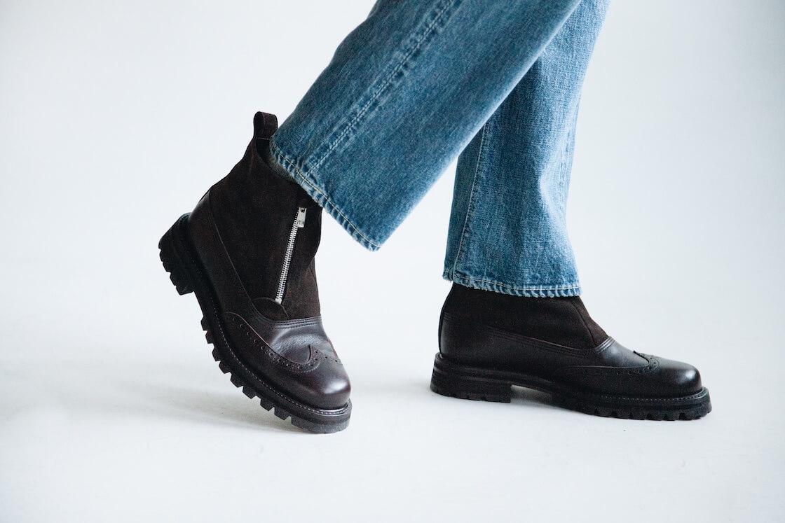 full count 1101 dartford denim and hender scheme epic suede boots on body
