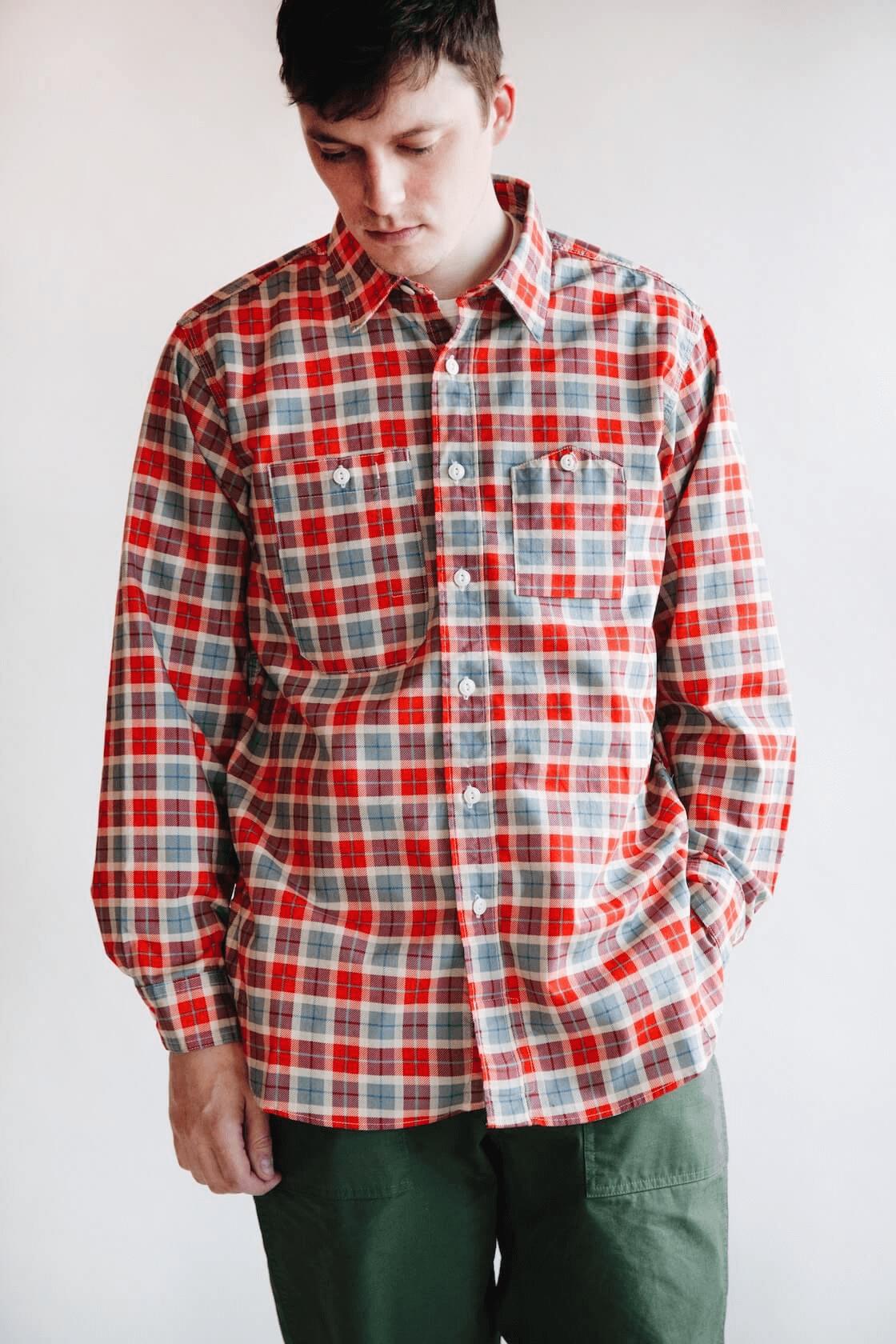 engineered garments work shirt on body