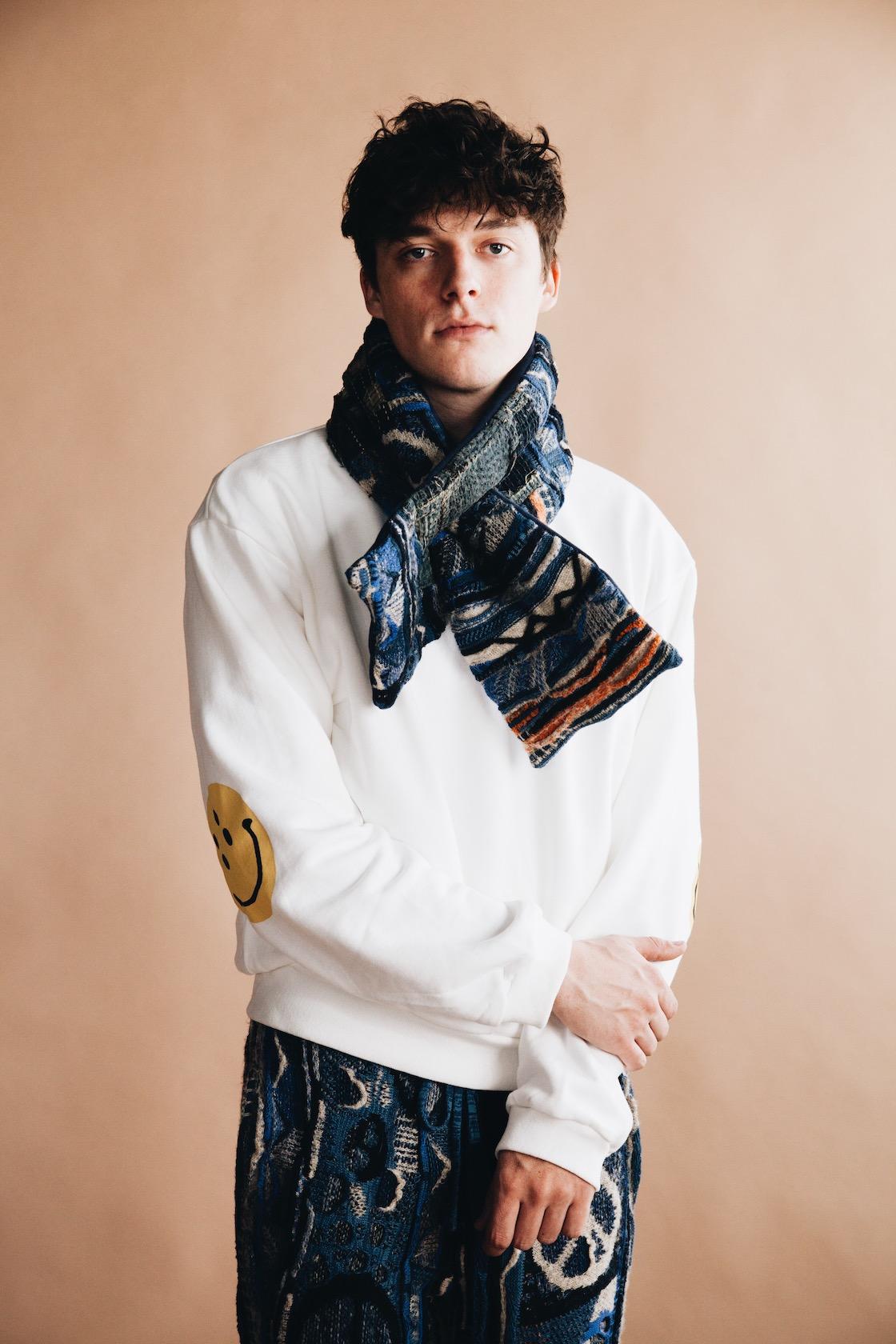 kapital clothing japan smiley patch elbow sweatshirt on body