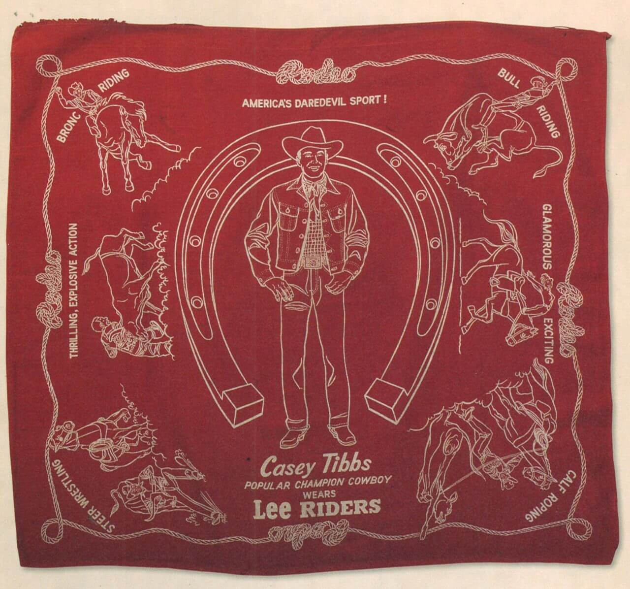 lee riders promotional bandana for casey tibbs from the 1950s