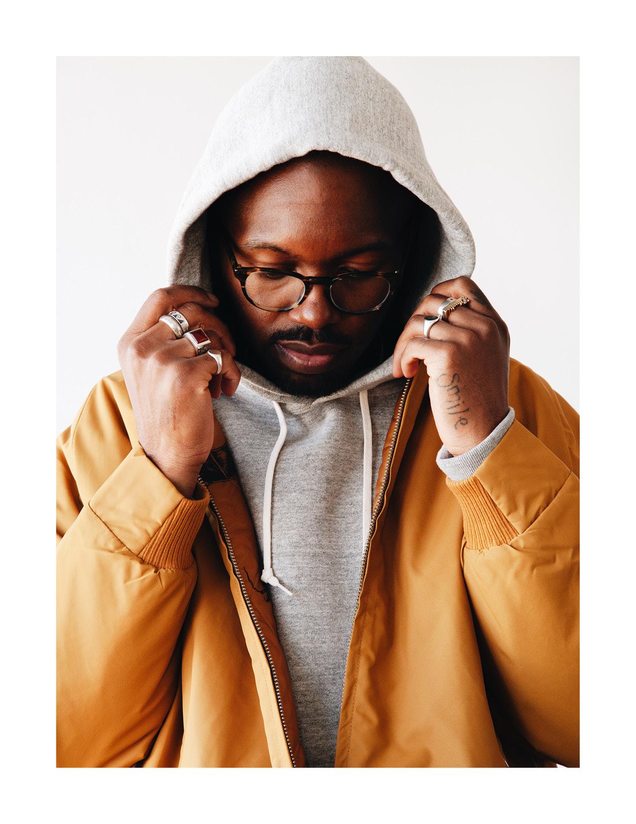 levi's vintage clothing coaches jacket, orslow hooded sweatshirt on body