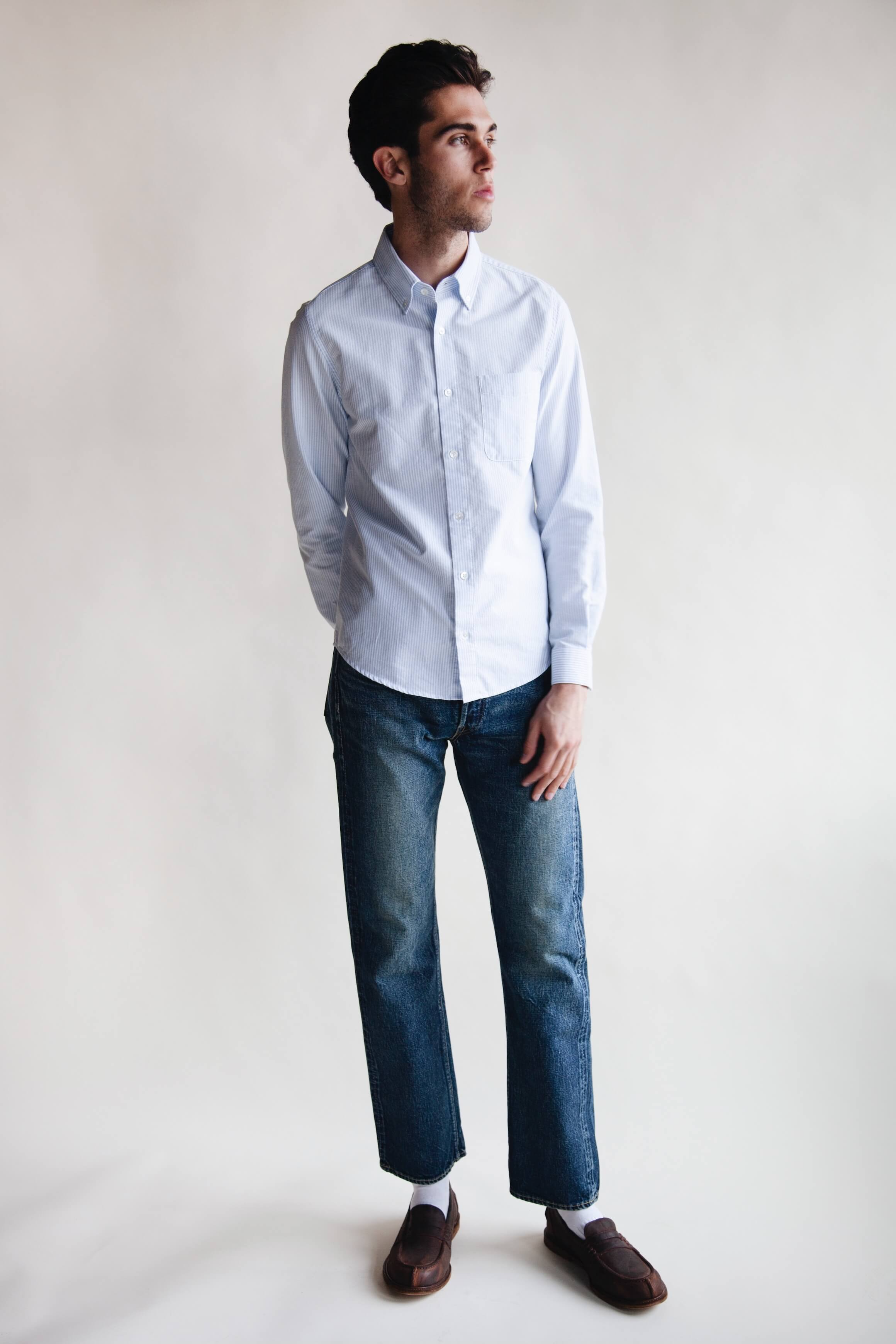 harmony paris celestin shirt, full count 1101 dartford denim and hender scheme slouchy shoes on body
