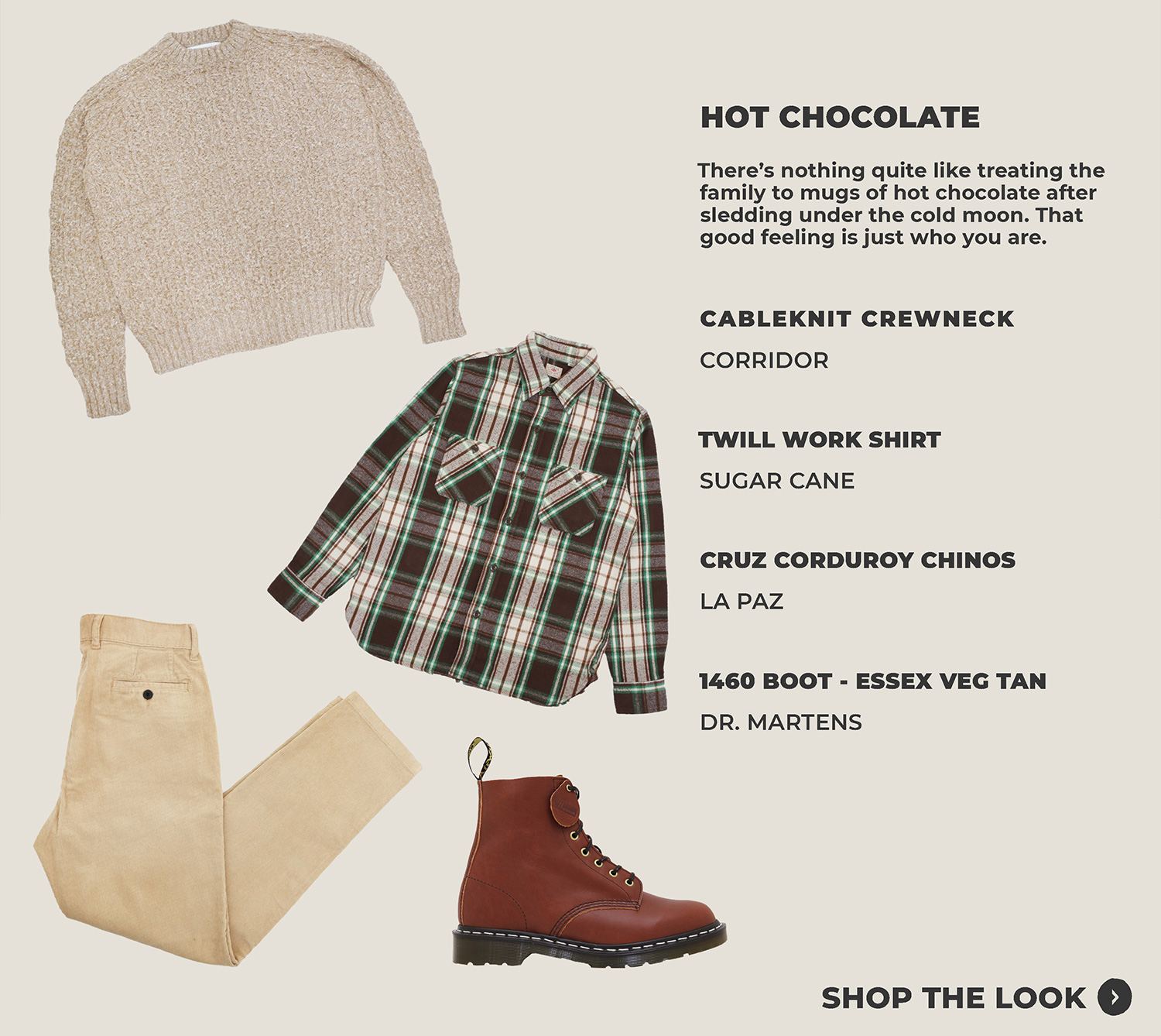 look three featuring corridor nyc cableknit crewneck, sugar cane workshirt, la paz corduroy chinos and dr. martens made in england 1460 boots