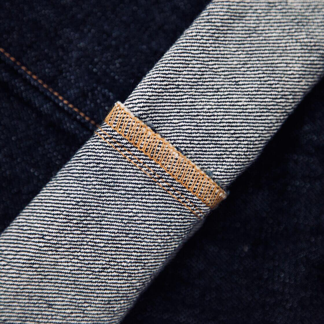 detail image of lockstitch on denim jeans