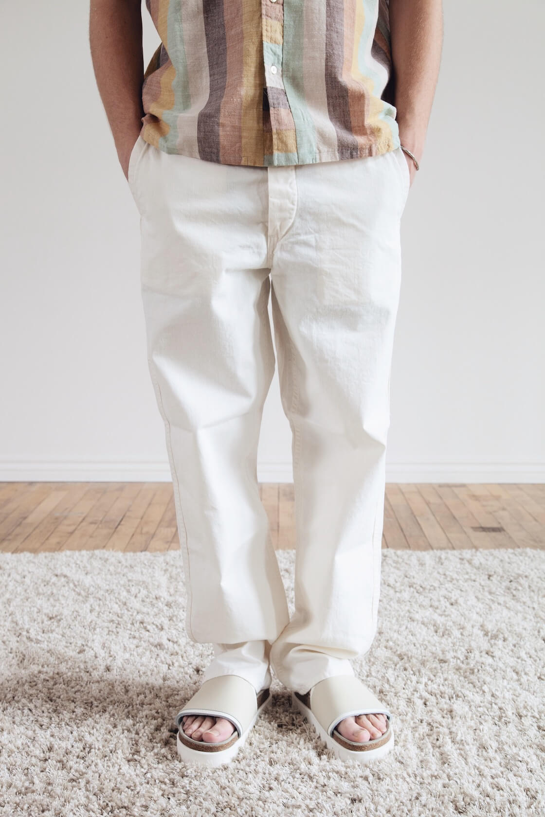 cableami canvas dixie hat, beams plus italian collar slab multi stripe shirt, corridor cotton seed drawstring pants and hender scheme caterpillar sandals on body
