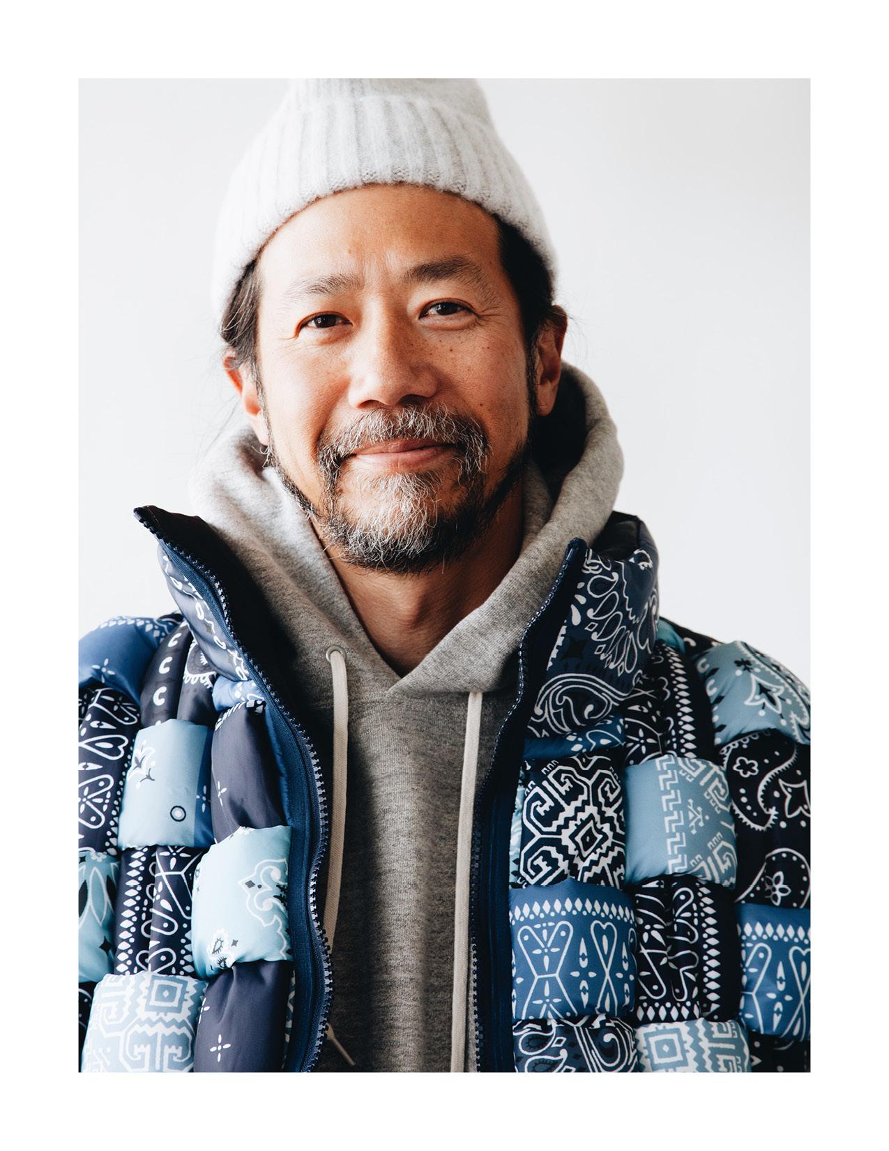 kapital bandana print nylon keel-weaving vest, howlin' king jammy hat, orslow hooded sweatshirt on body