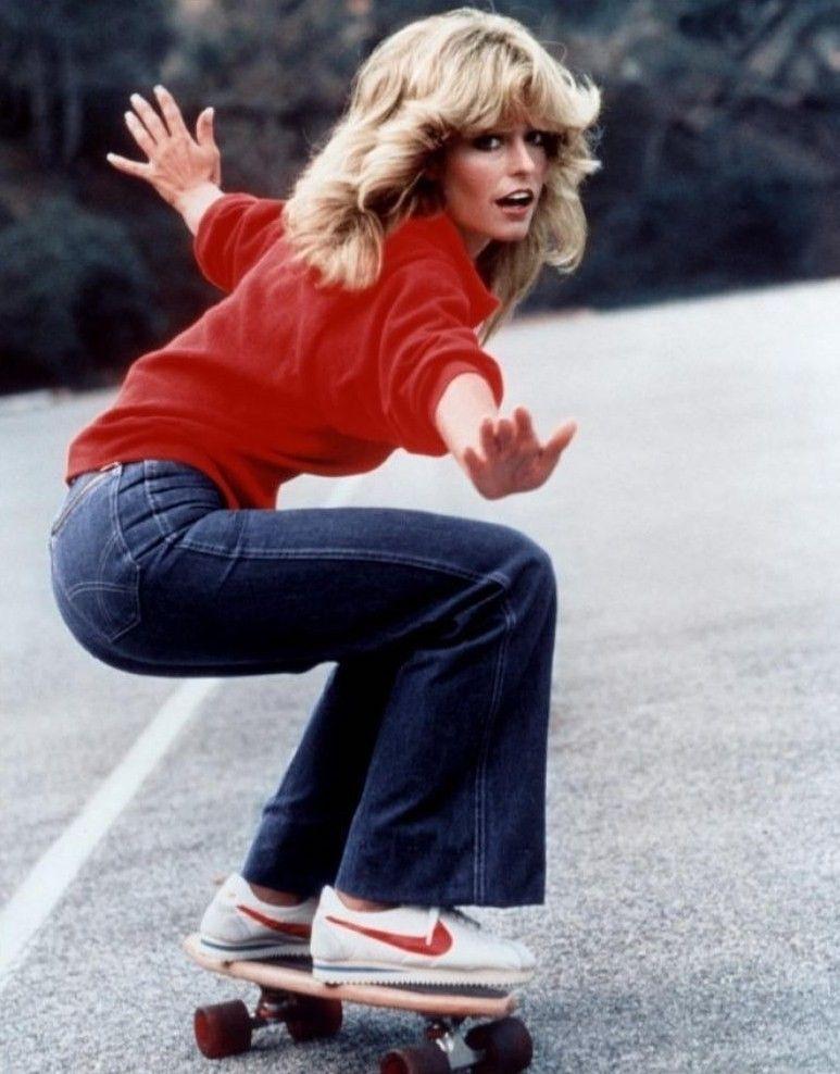 Farrah Fawcett skateboarding in Nike Cortez sneakers in 1976.