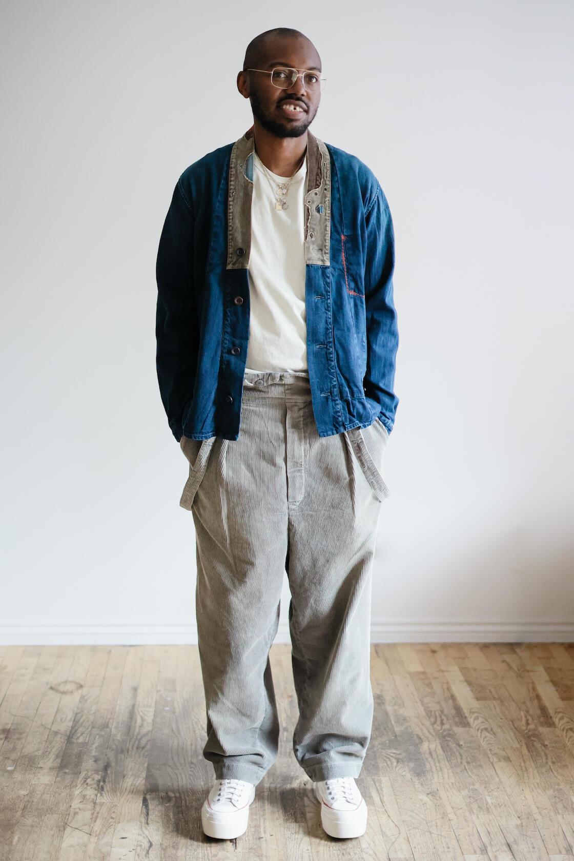 kapital 8w corduroy bash overalls and jubbahn shirt on body