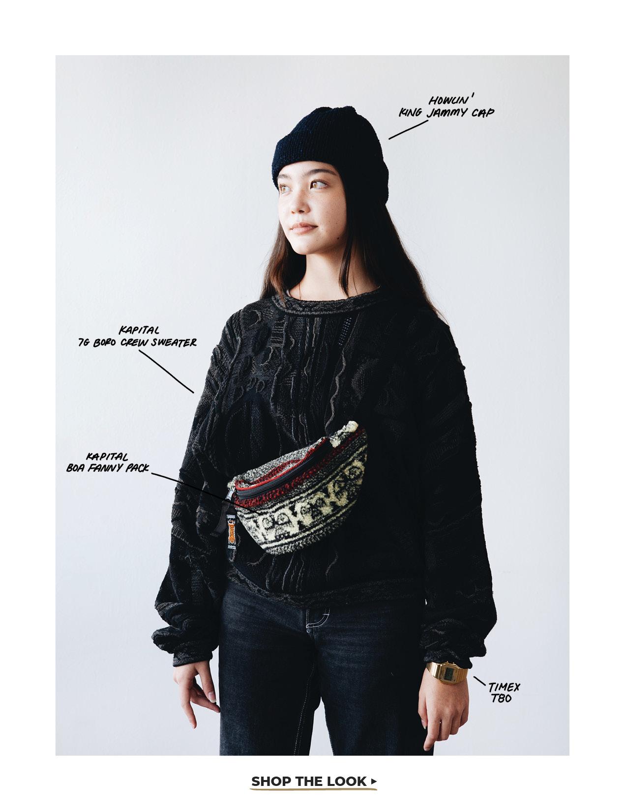 kapital birds-eye fanny pack, howlin' king jammy cap, timex t80 watch and kapital boro crew sweater on body