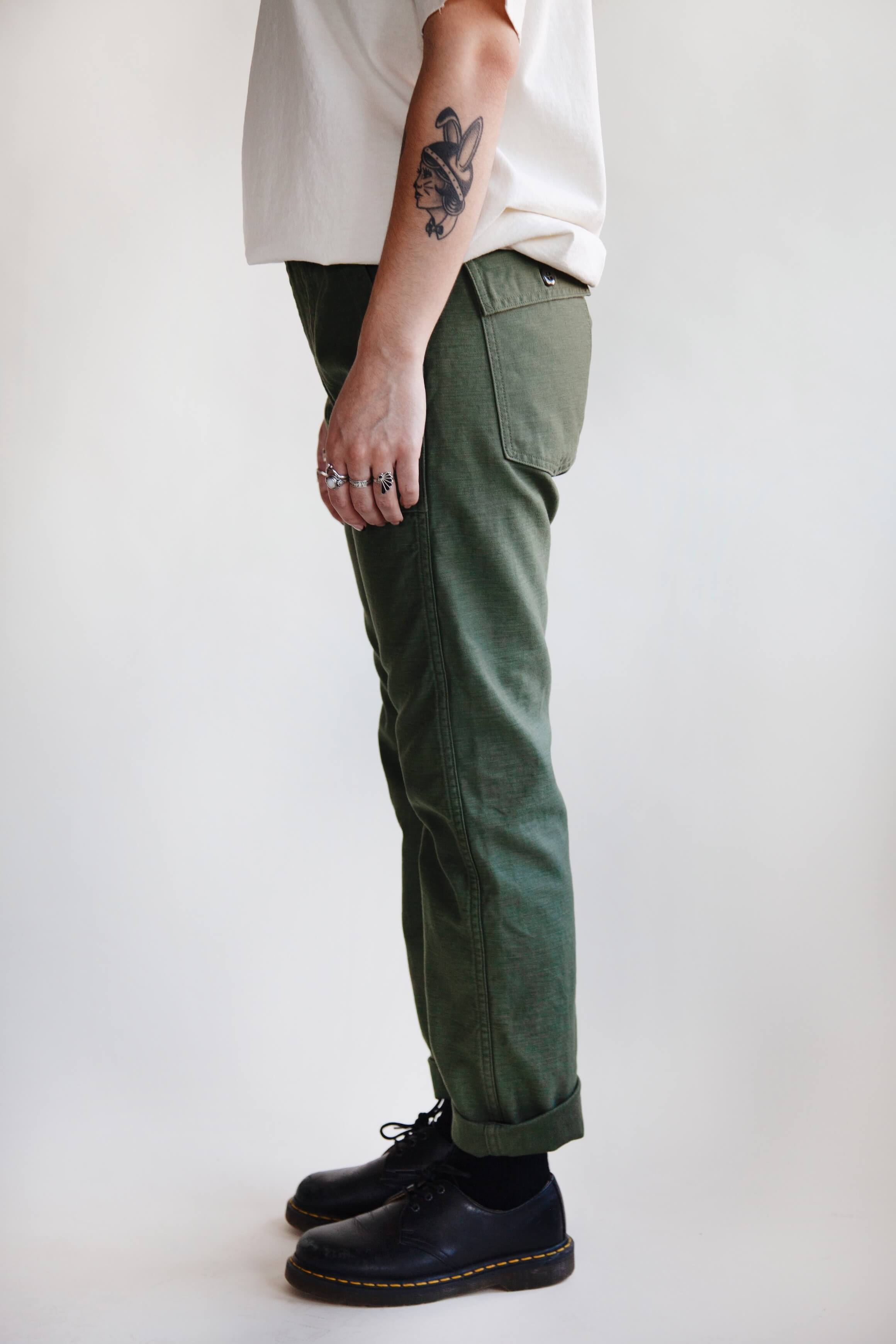 orslow Slim Fit Fatigue Pants - Olive Reverse Sateen on female model