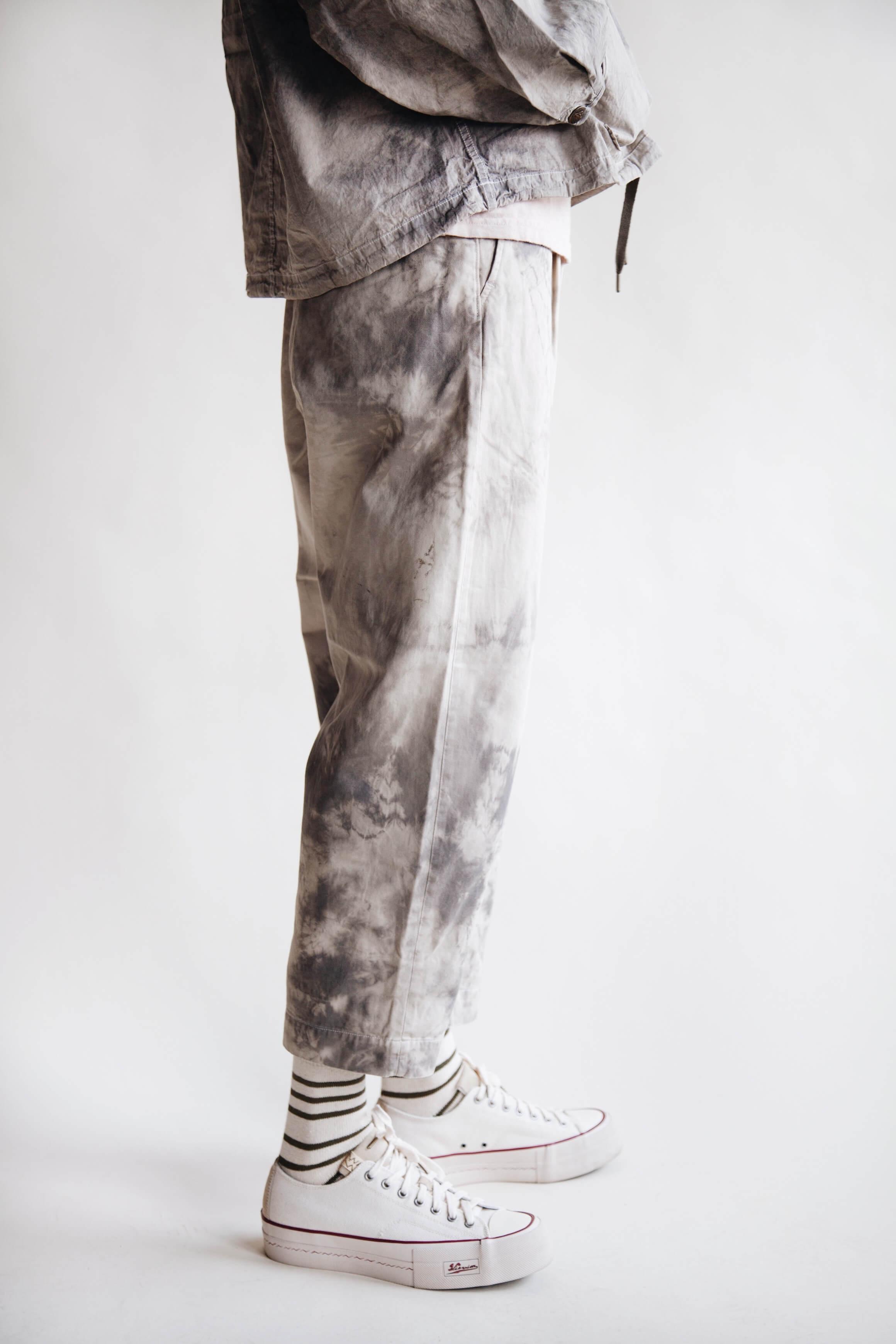 kapital clothing japan dump cotton zip anorak, katsugari high waist nime pants ashbury dyed and visvim skagway shoes on body