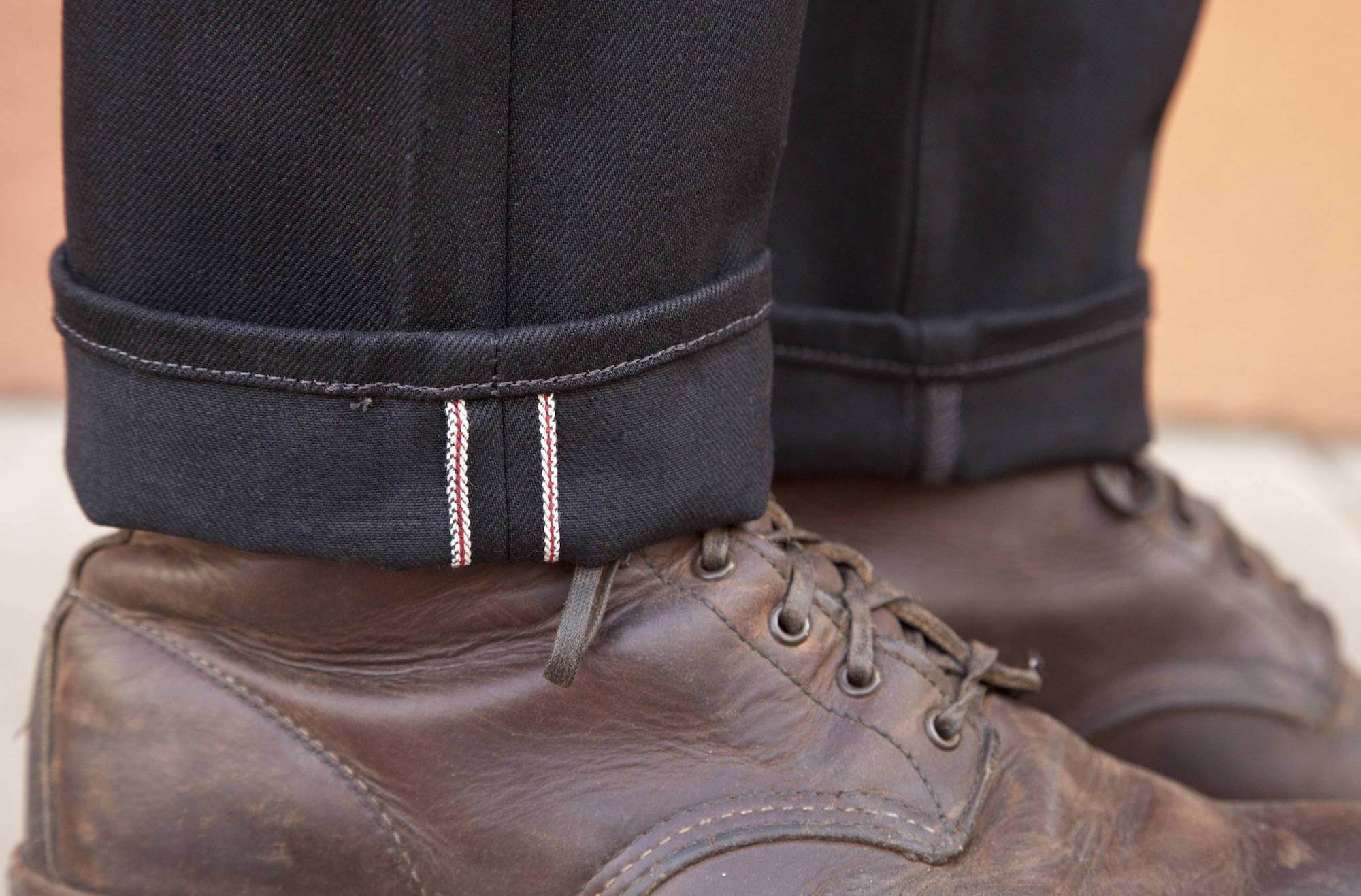 black, selvedge denim jeans