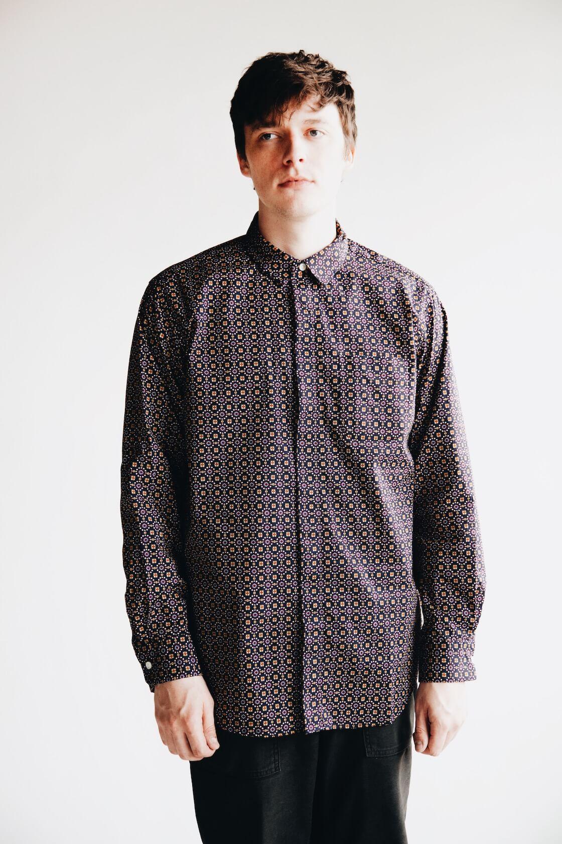 engineered garments short collar shirt on body