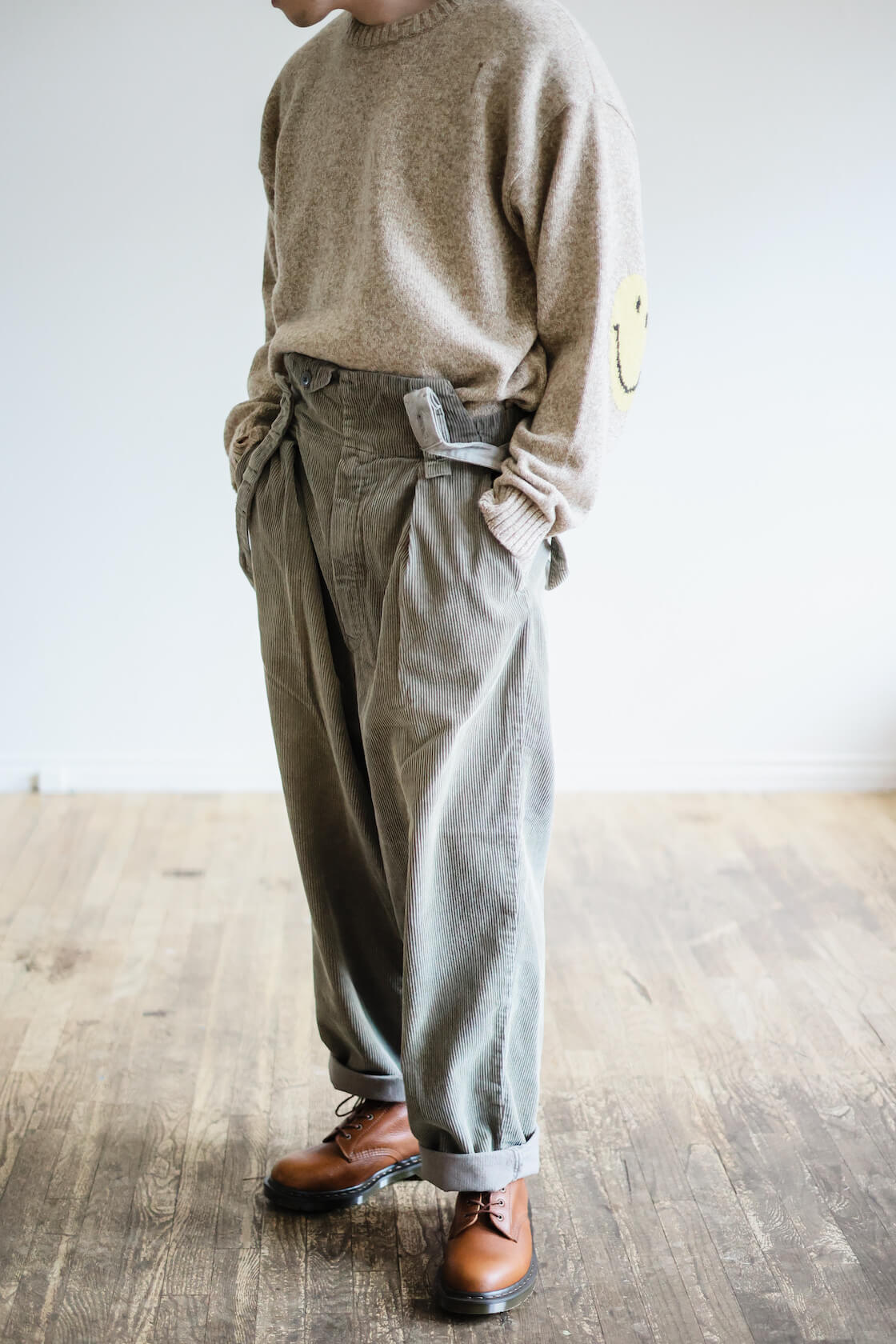 kapital 8w corduroy bash overalls and smilie sweater on body