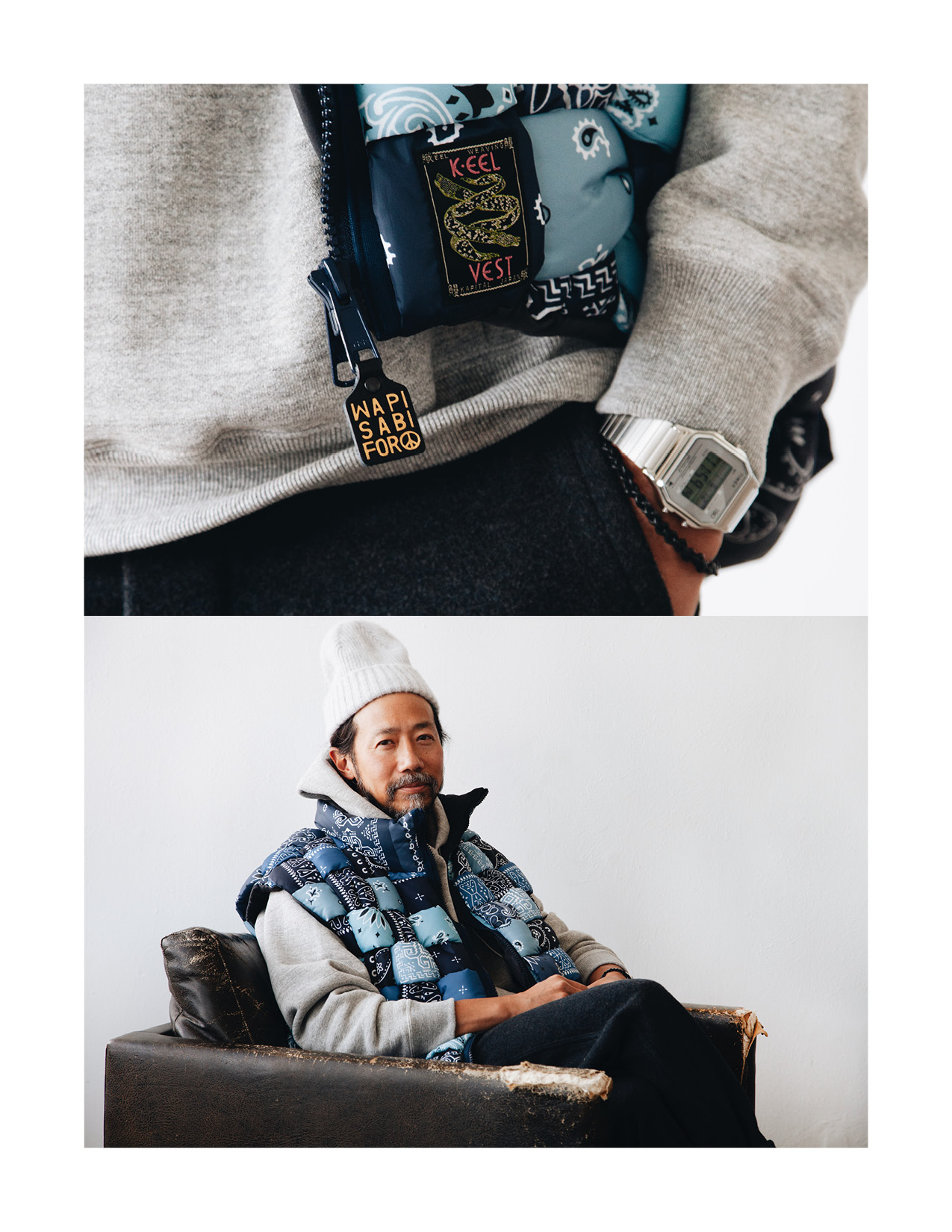 kapital bandana print nylon keel-weaving vest, orslow hooded sweatshirt, orslow french work pants on body