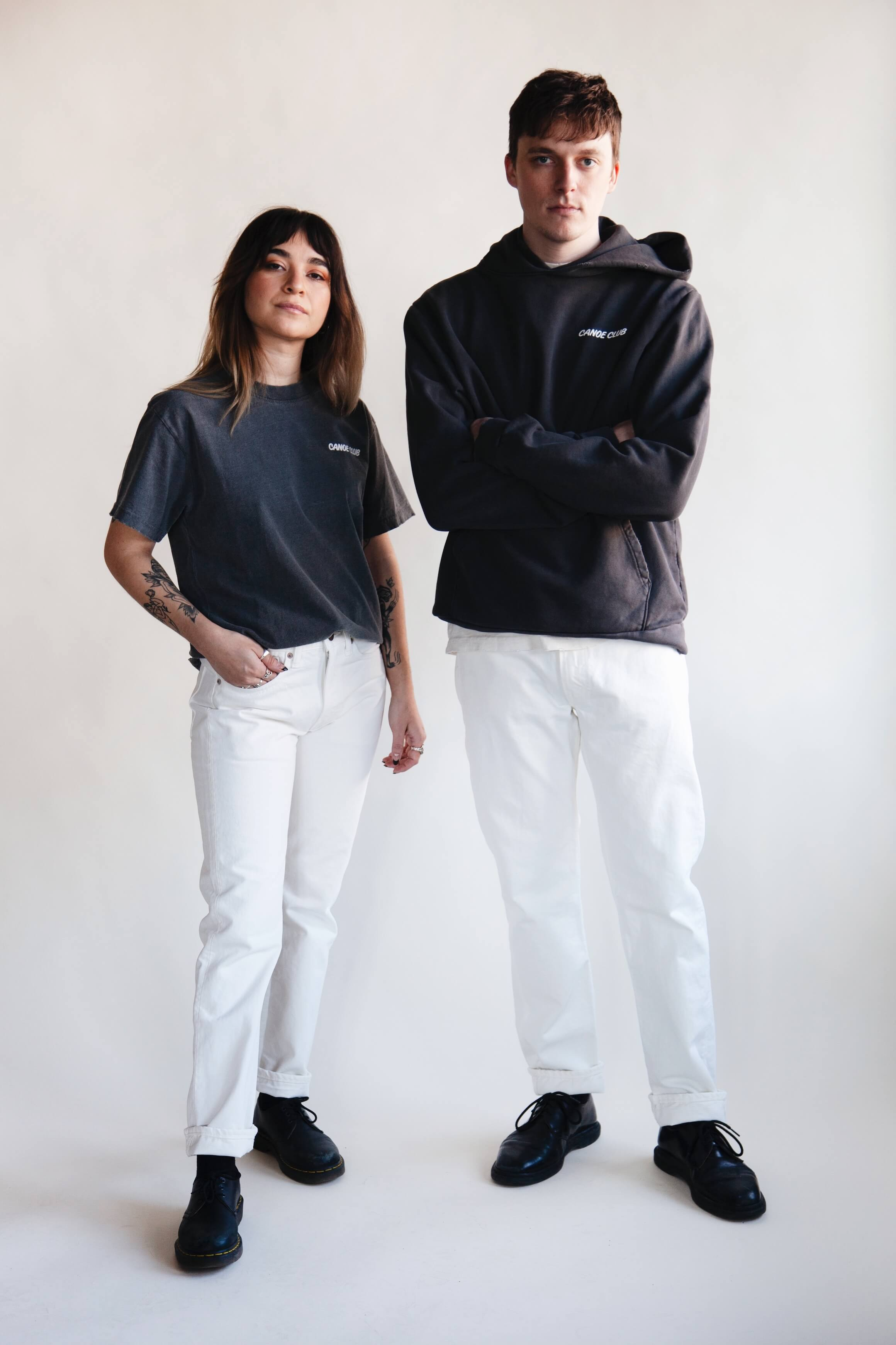 orslow 107 Ivy Denim - White on male and female models